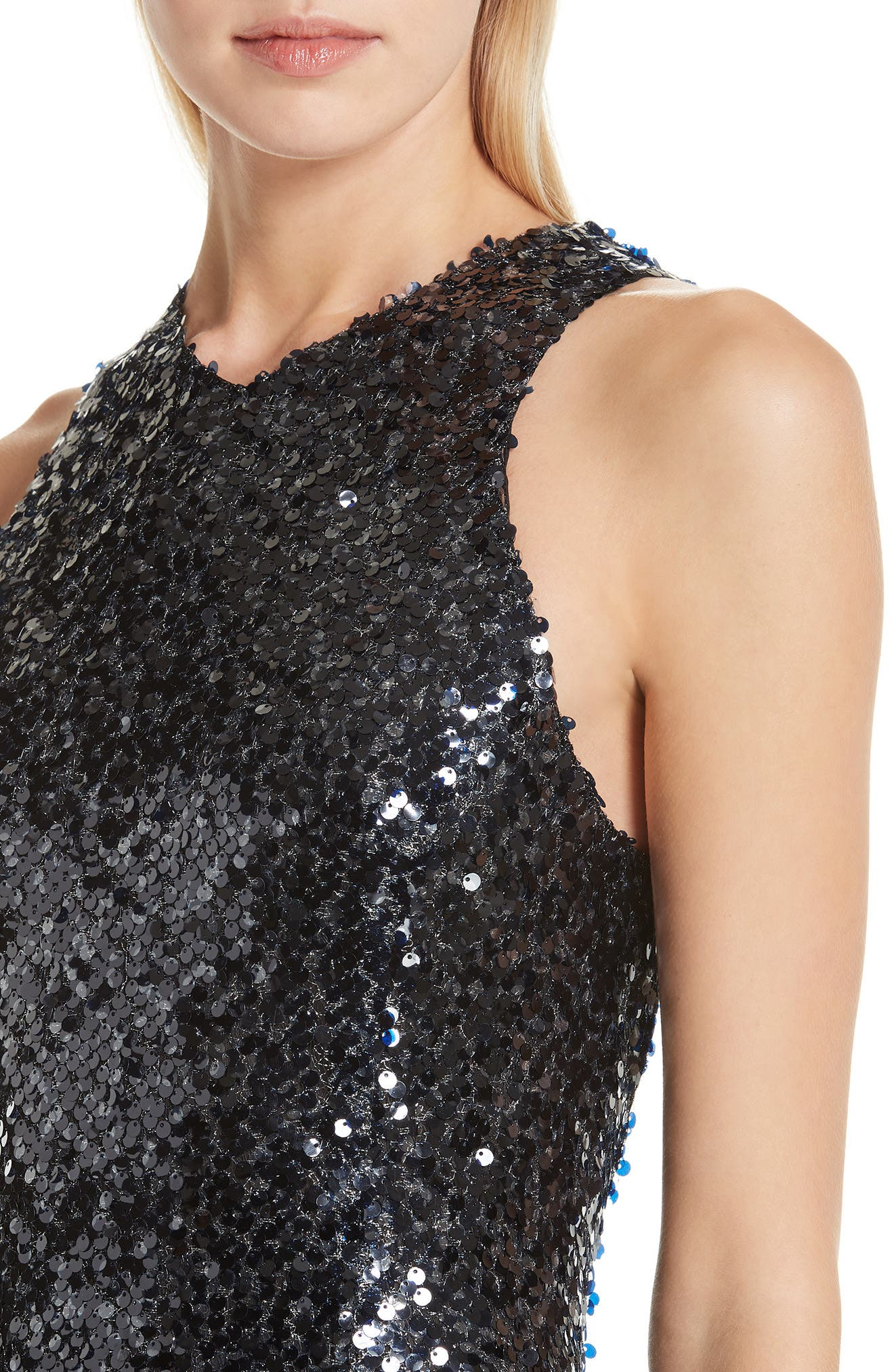 Sequin Racerback Gown,                             Alternate thumbnail 4, color,                             INKY BLUE BLACK