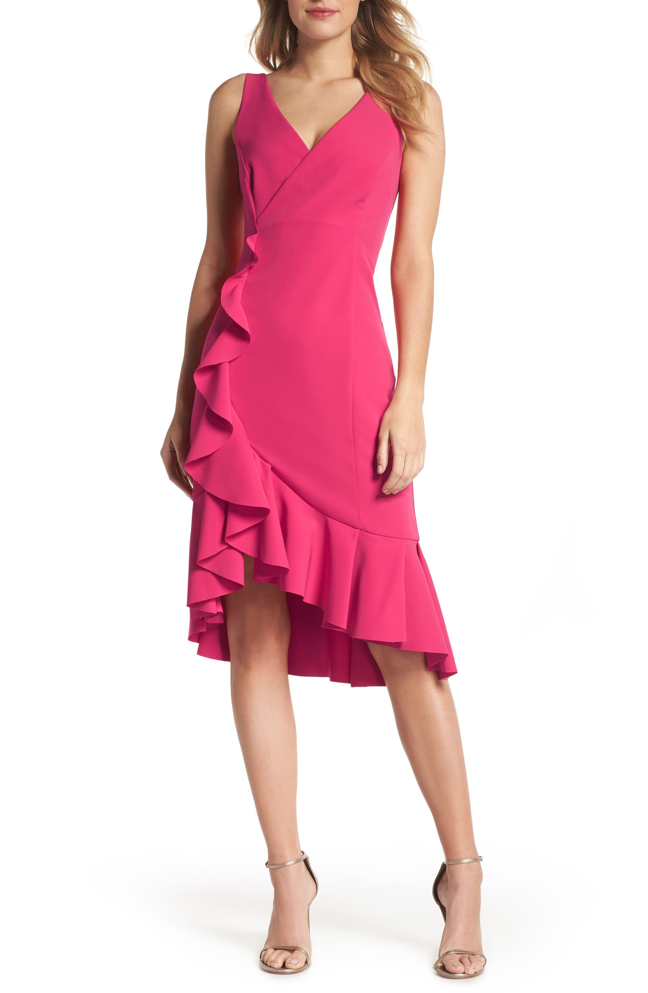 Laguna Ruffle Sheath Dress,                         Main,                         color, 660