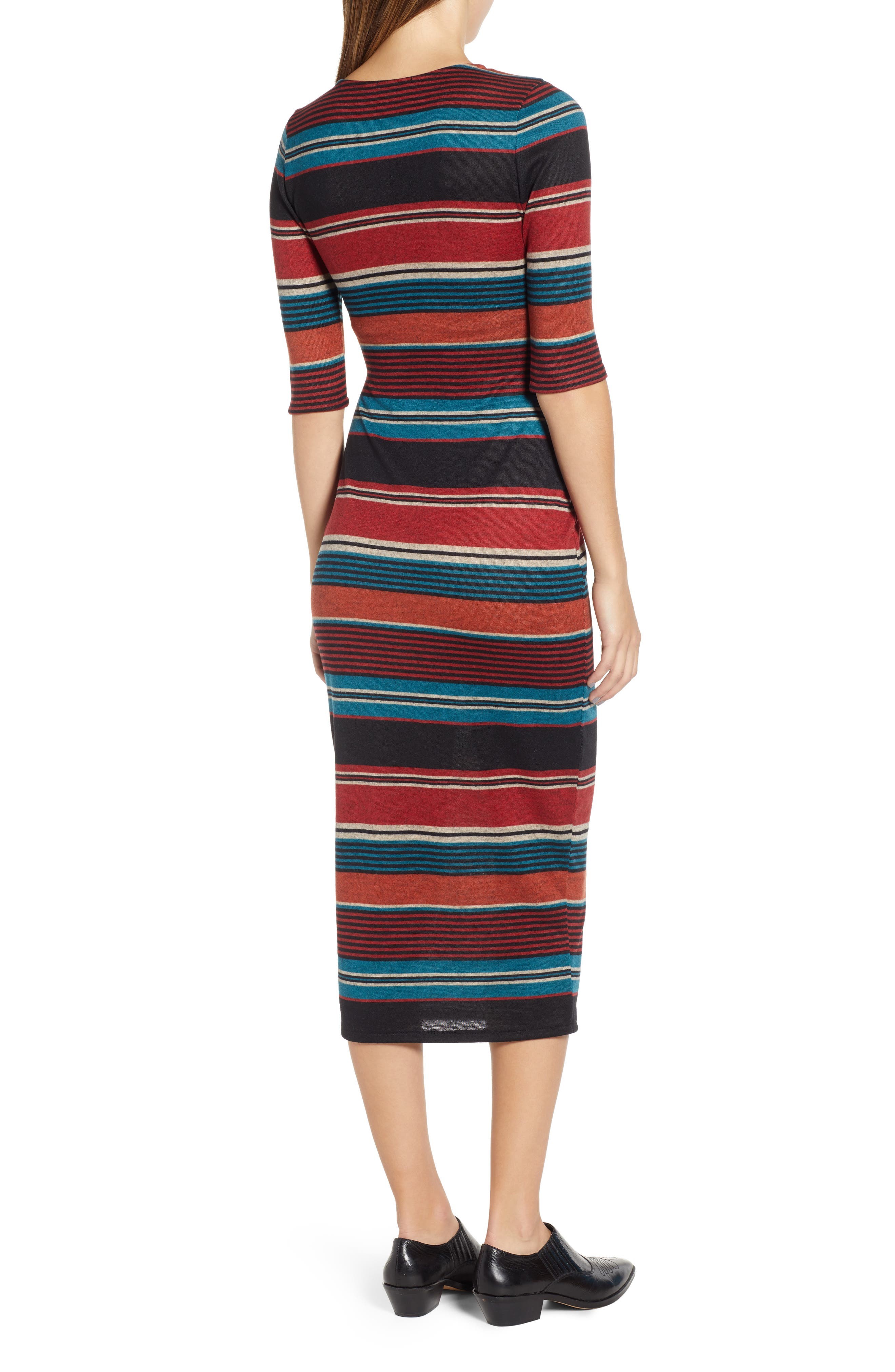 Knit Stripe Midi Dress,                             Alternate thumbnail 2, color,                             TEAL STRIPE