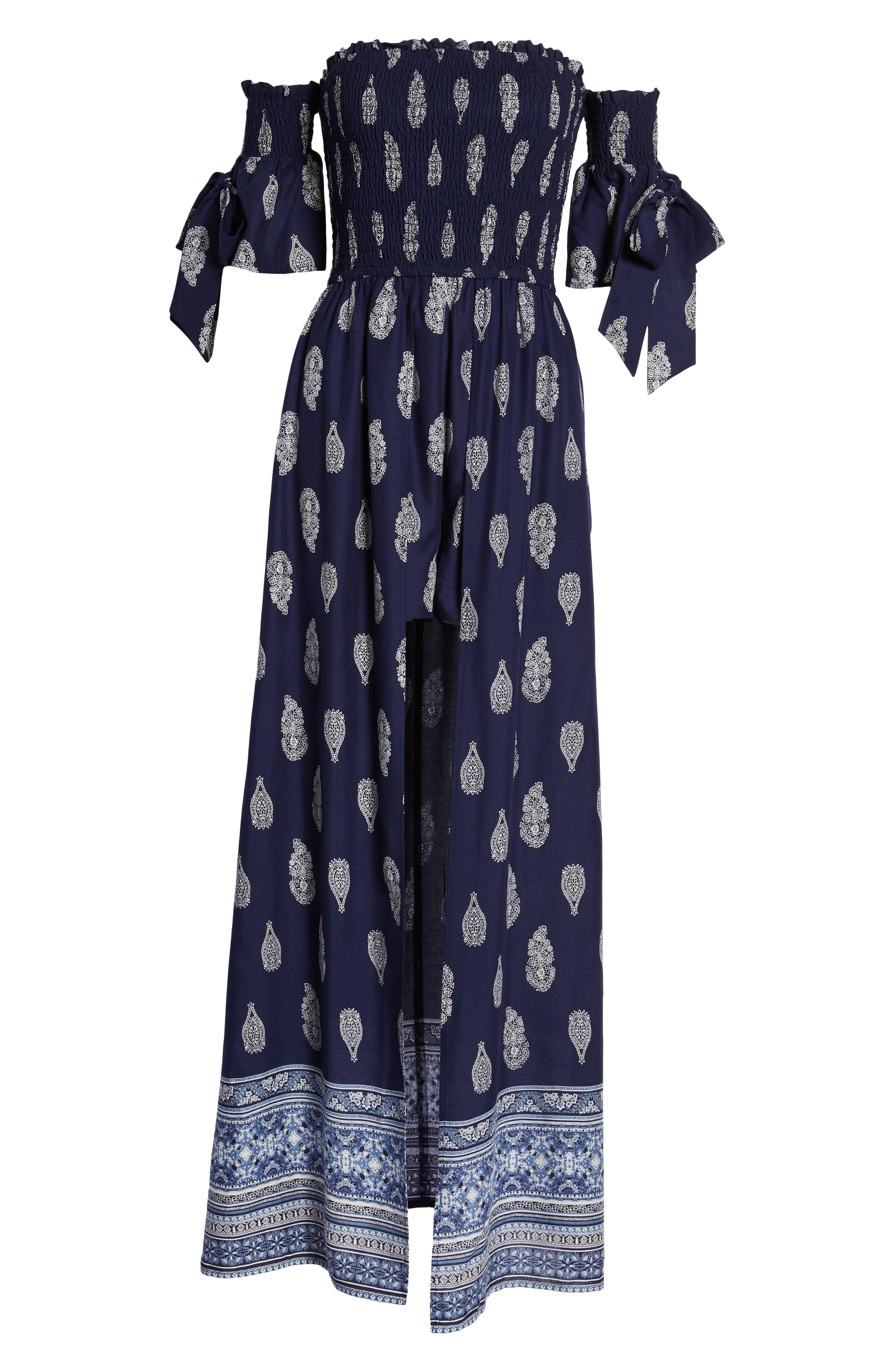 BAND OF GYPSIES,                             Summer Bloom Smocked Maxi Romper,                             Alternate thumbnail 7, color,                             400