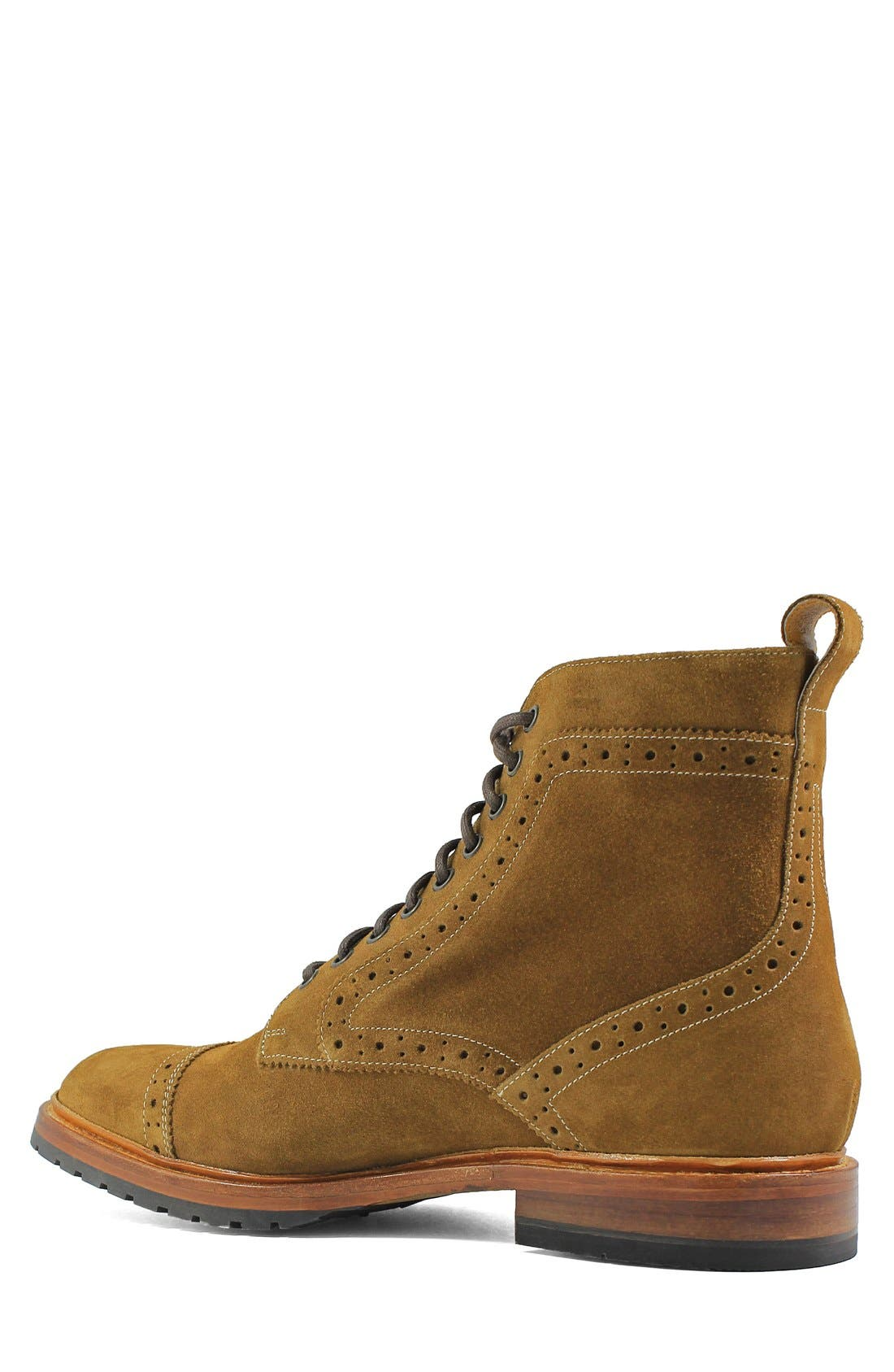 Madison II Cap Toe Lace Boot,                             Alternate thumbnail 4, color,                             TAN SUEDE