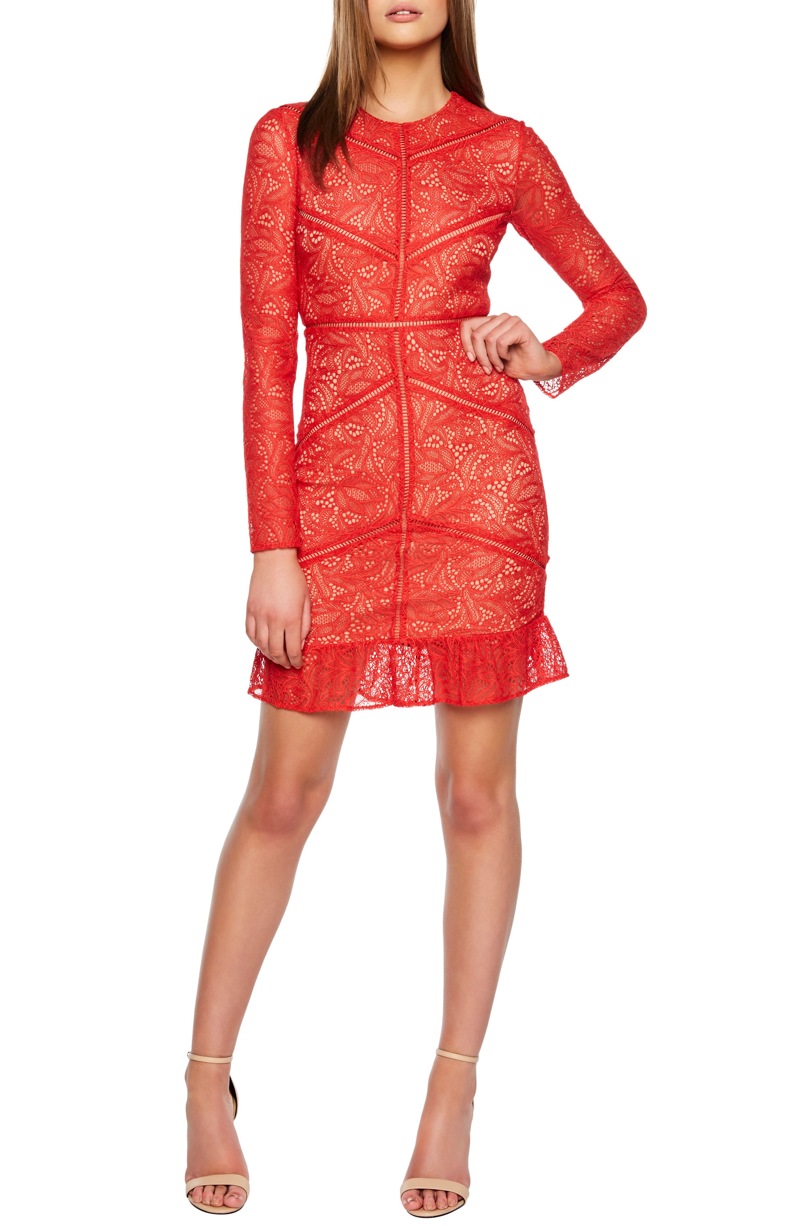 Bardot Sasha Lace Cocktail Dress, Red