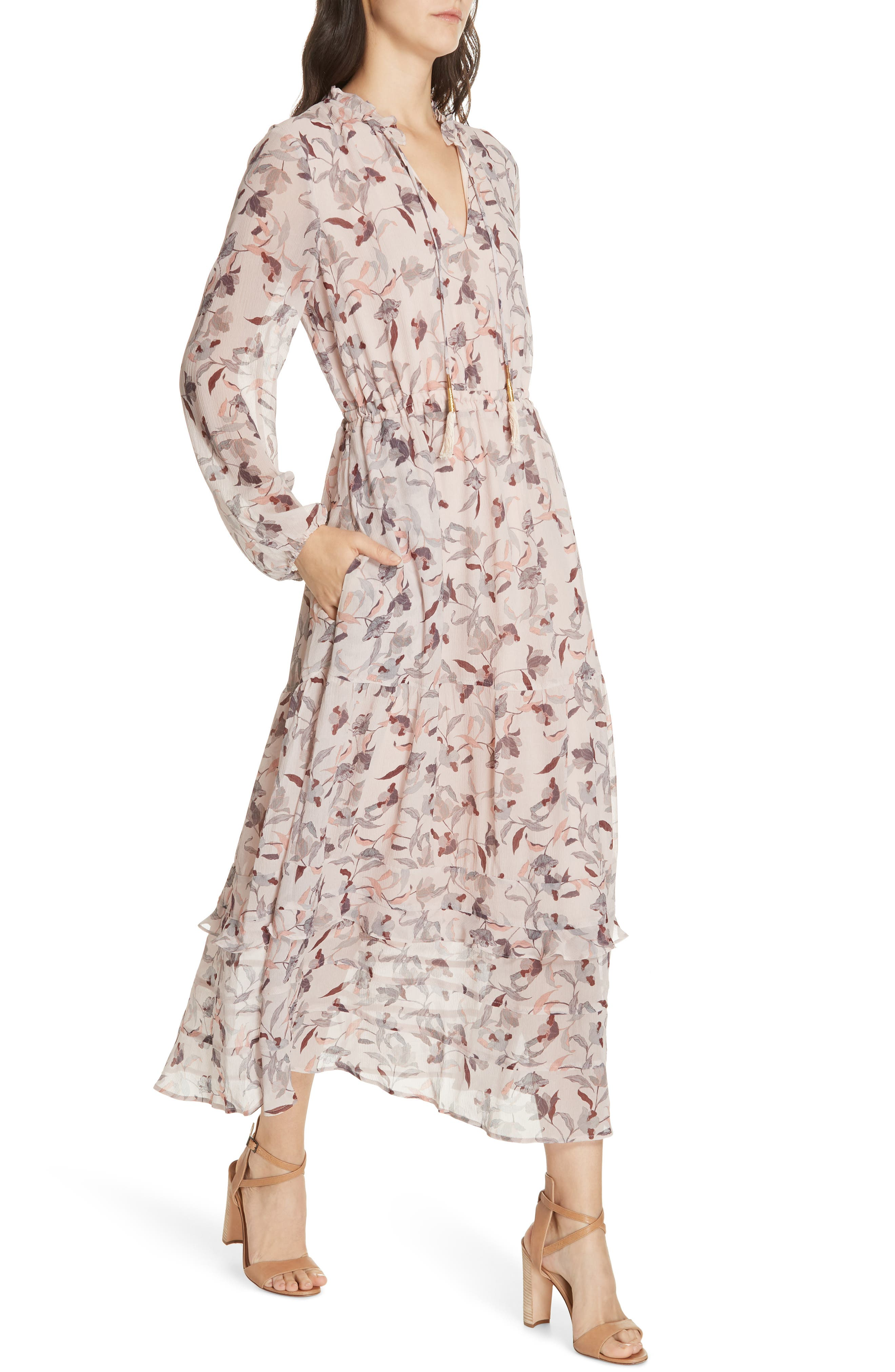 Frances Floral Silk Maxi Dress,                             Alternate thumbnail 4, color,                             FEATHER POPPY
