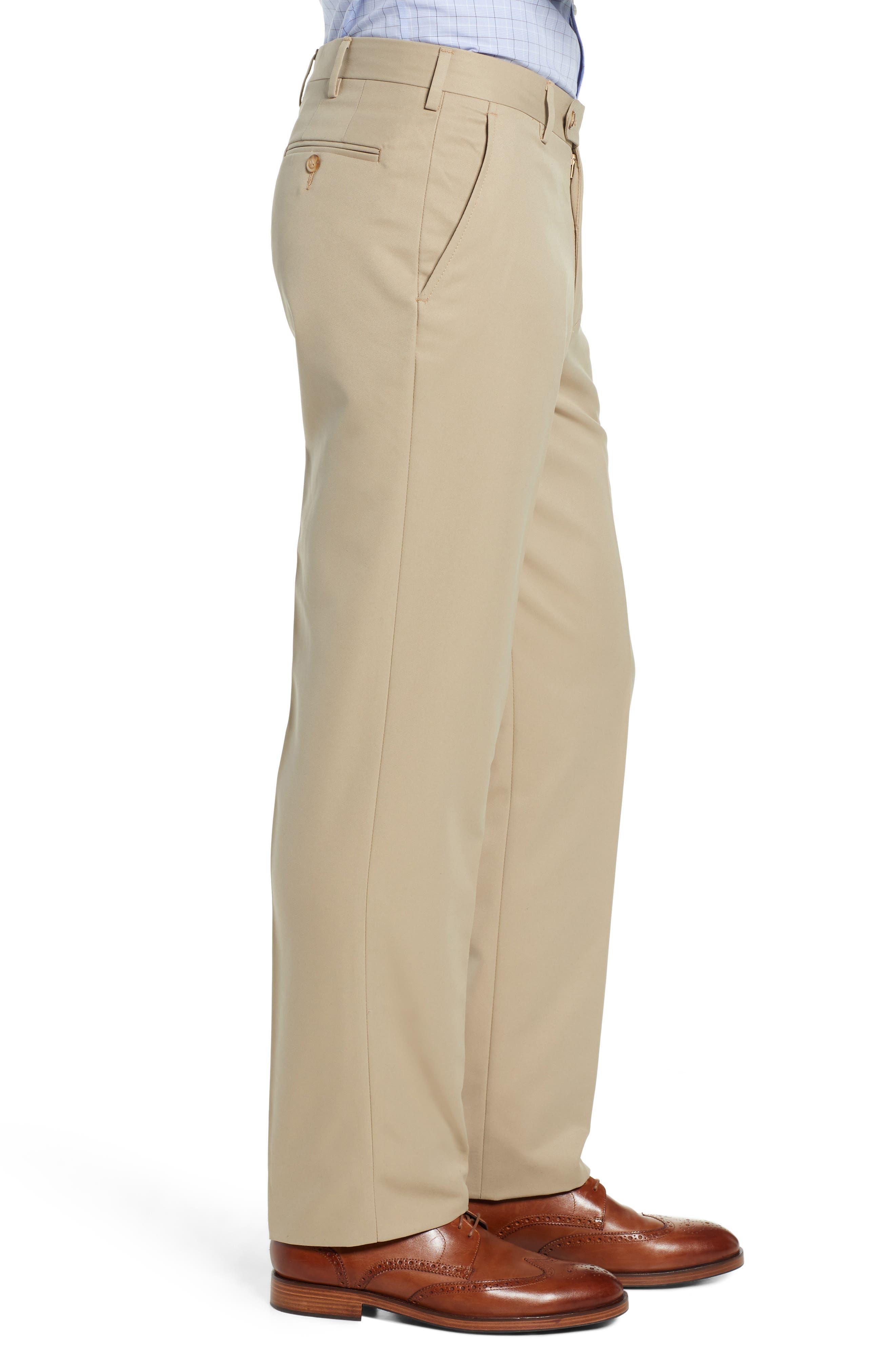 Classic Fit Flat Front Microfiber Performance Trousers,                             Alternate thumbnail 3, color,                             TAN