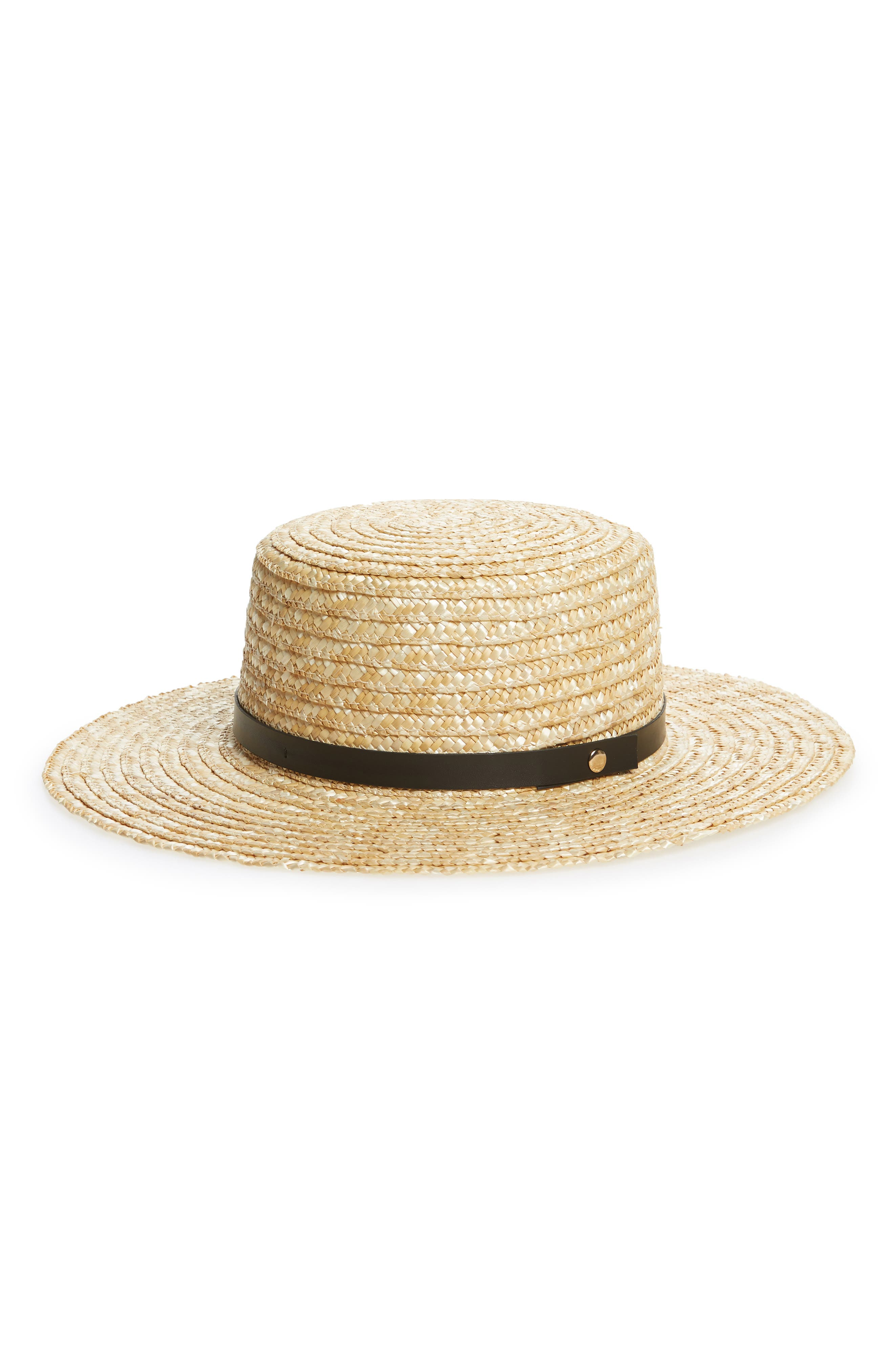 Wide Brim Straw Boater Hat,                         Main,                         color,