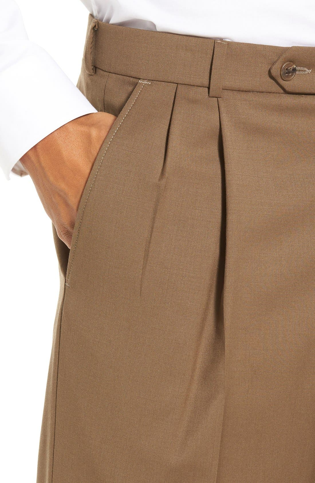 Pleated Solid Wool Trousers,                             Alternate thumbnail 47, color,