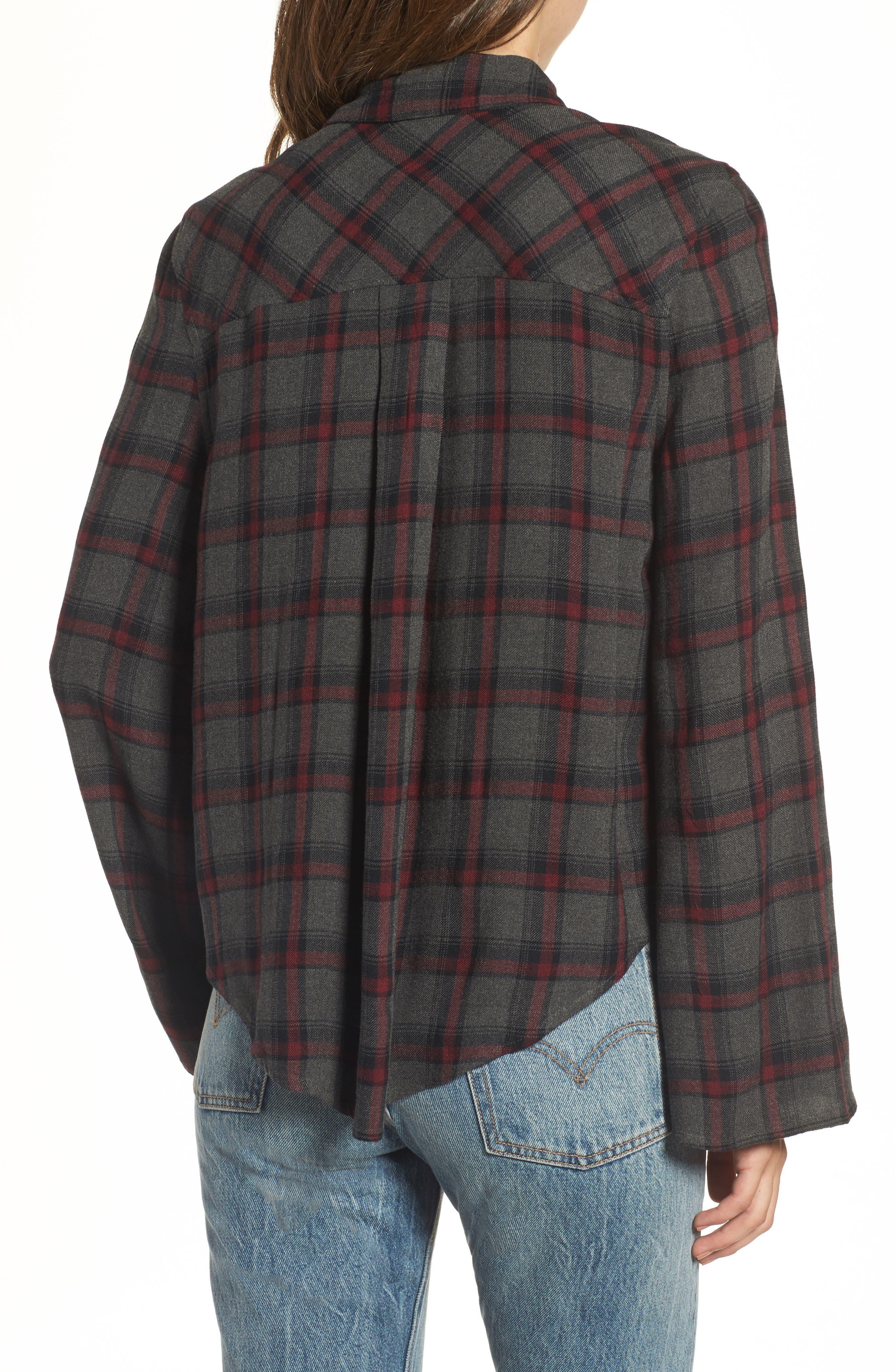 Flare Sleeve Plaid Shirt,                             Alternate thumbnail 2, color,                             030