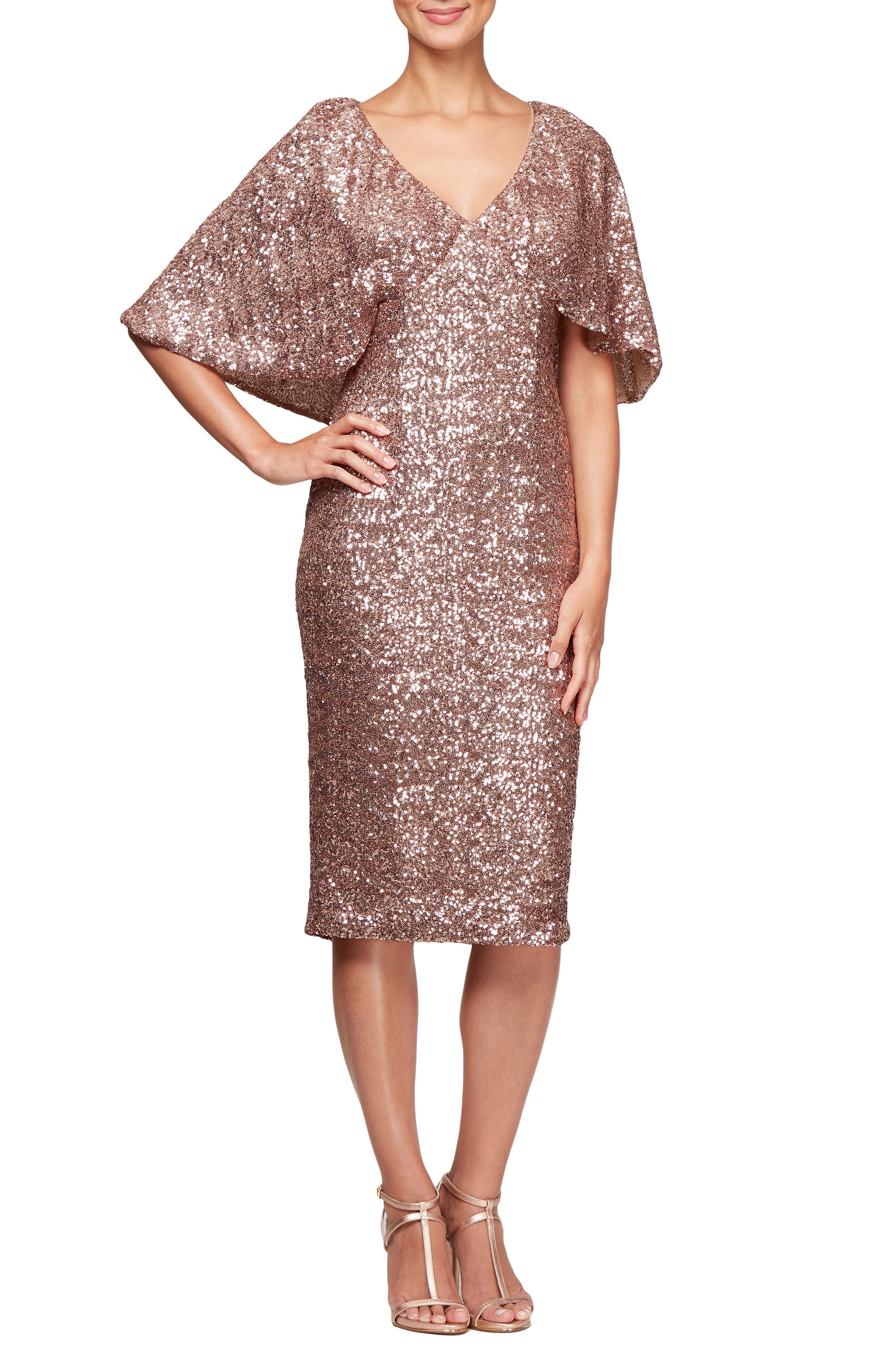 Capelet Sleeve Sequin Cocktail Sheath,                             Main thumbnail 1, color,                             ROSE GOLD