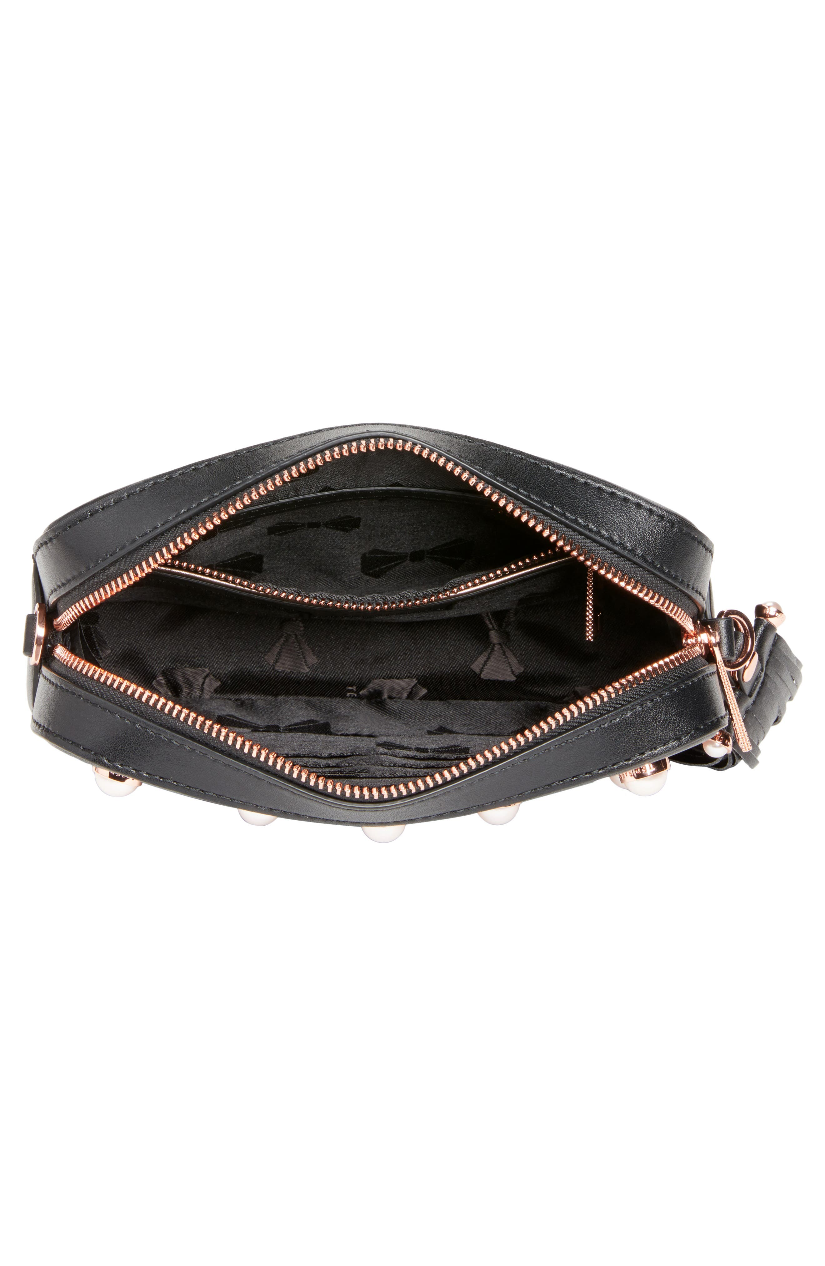 Alessia Imitation Pearl Embellished Leather Crossbody,                             Alternate thumbnail 4, color,                             001