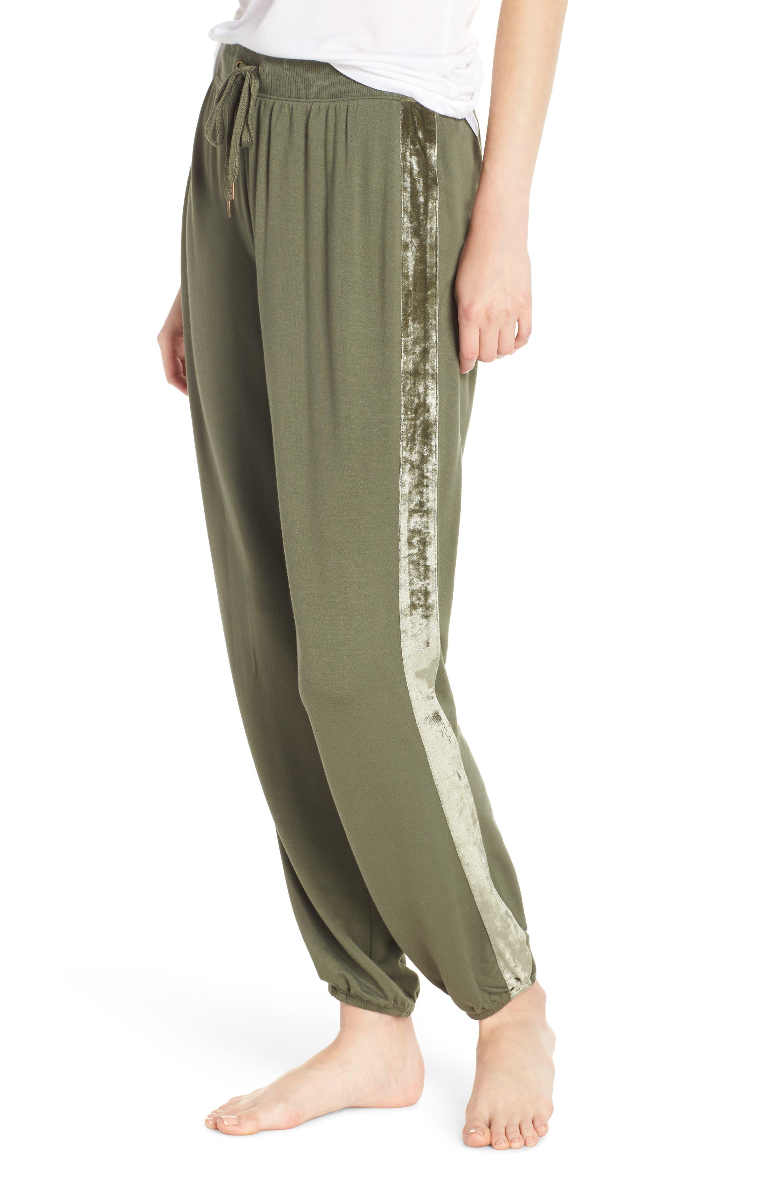 Splendid Velvet Stripe Pajama Pants, Green