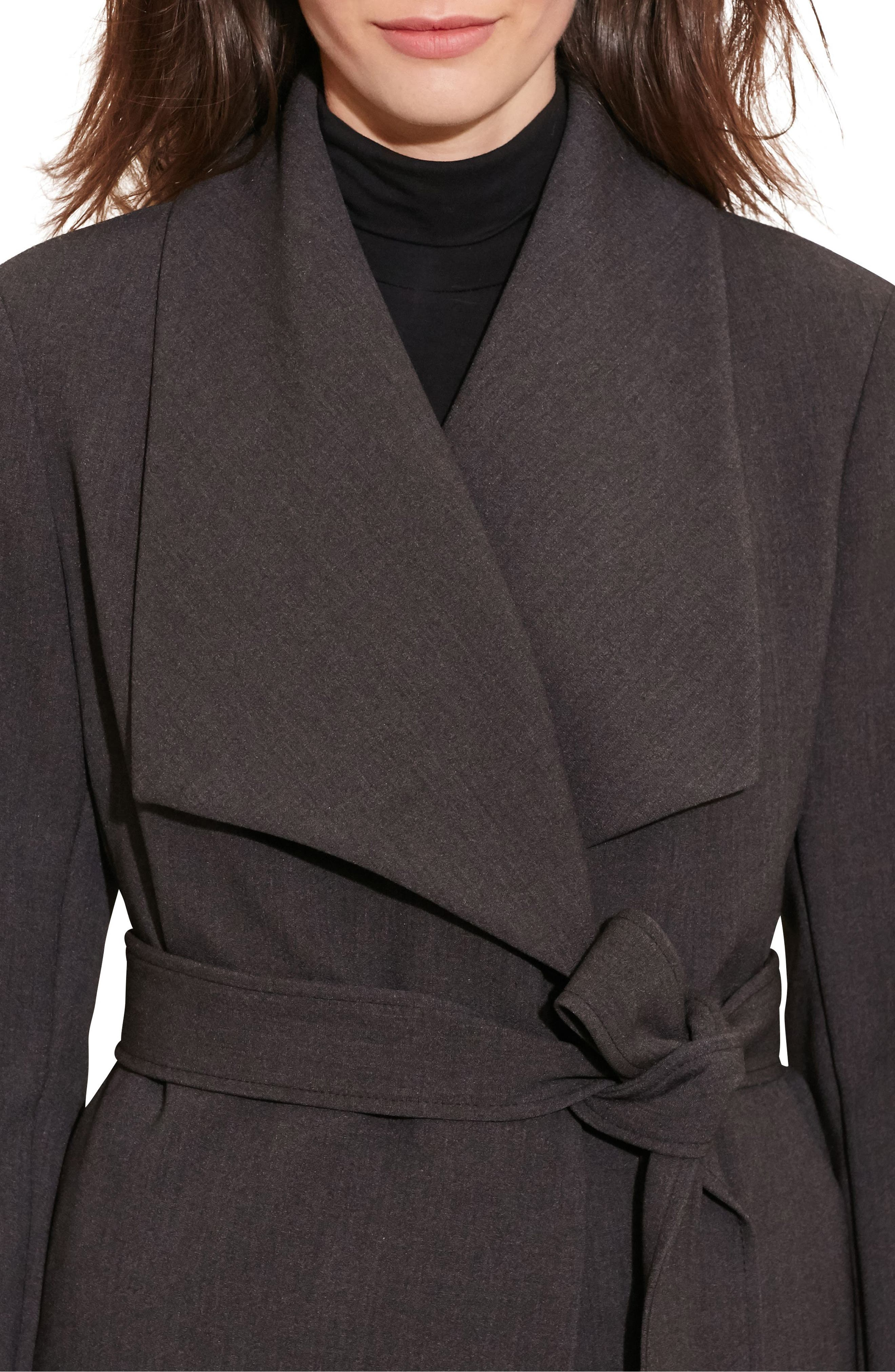 Belted Drape Front Coat,                             Alternate thumbnail 3, color,                             CHARCOAL