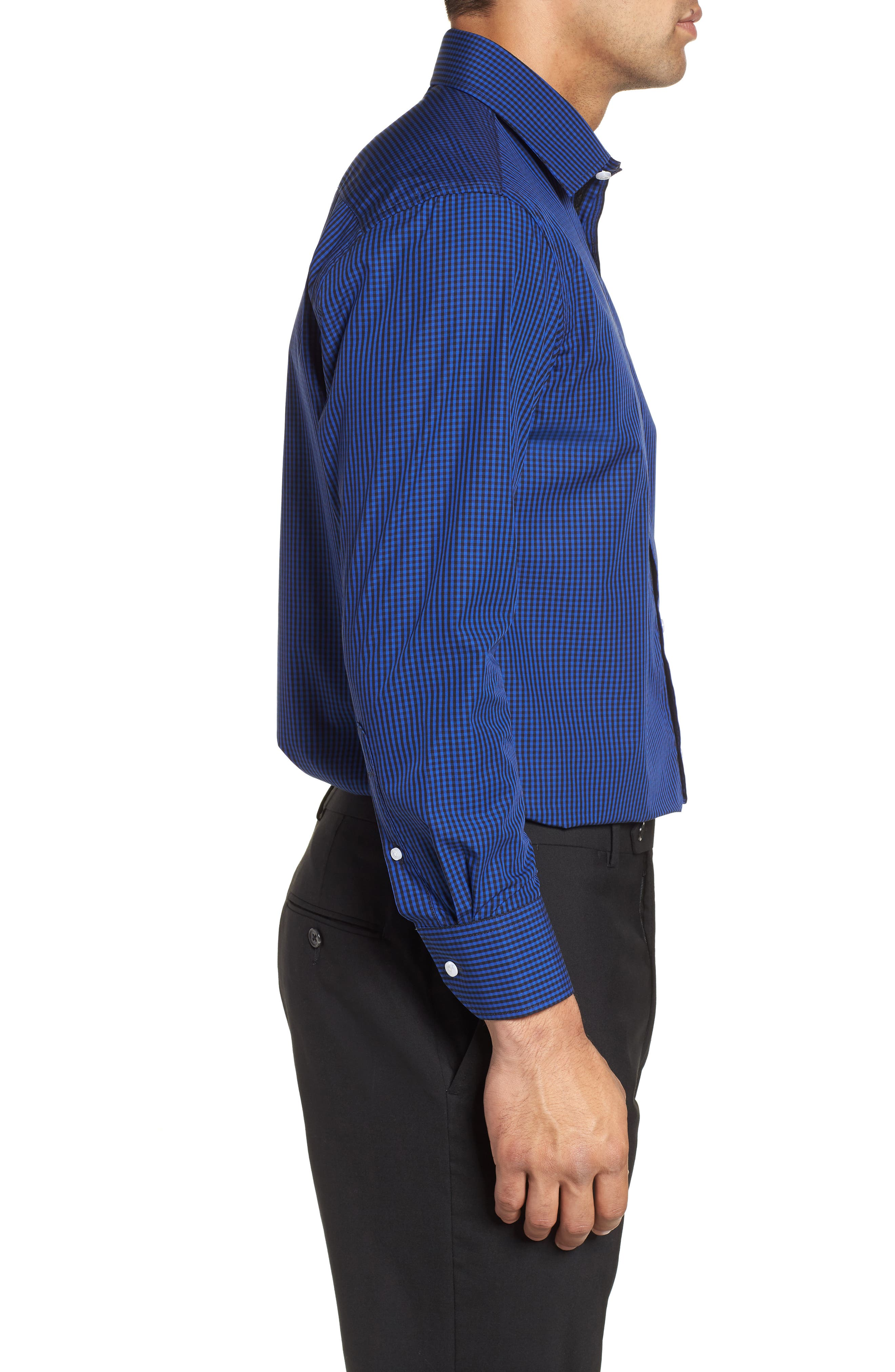 Regular Fit Check Dress Shirt,                             Alternate thumbnail 4, color,                             BLUE