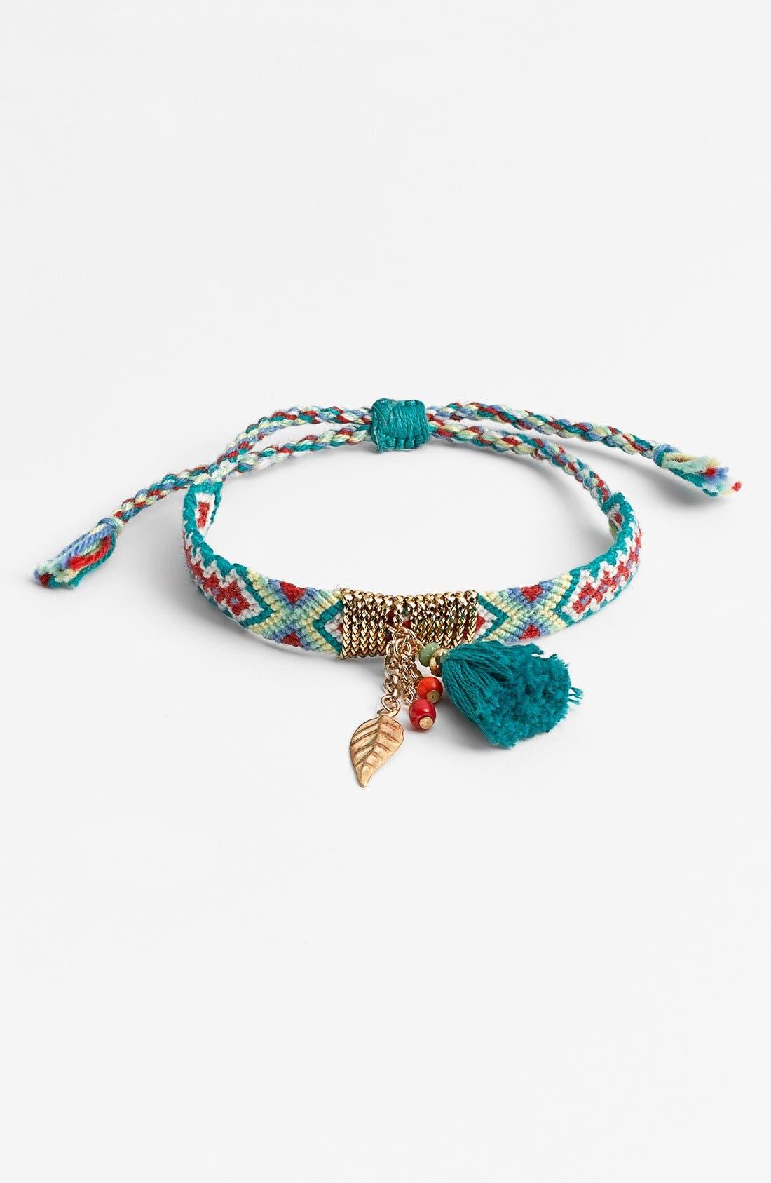 CARA Tassel Woven Friendship Bracelet, Main, color, 300
