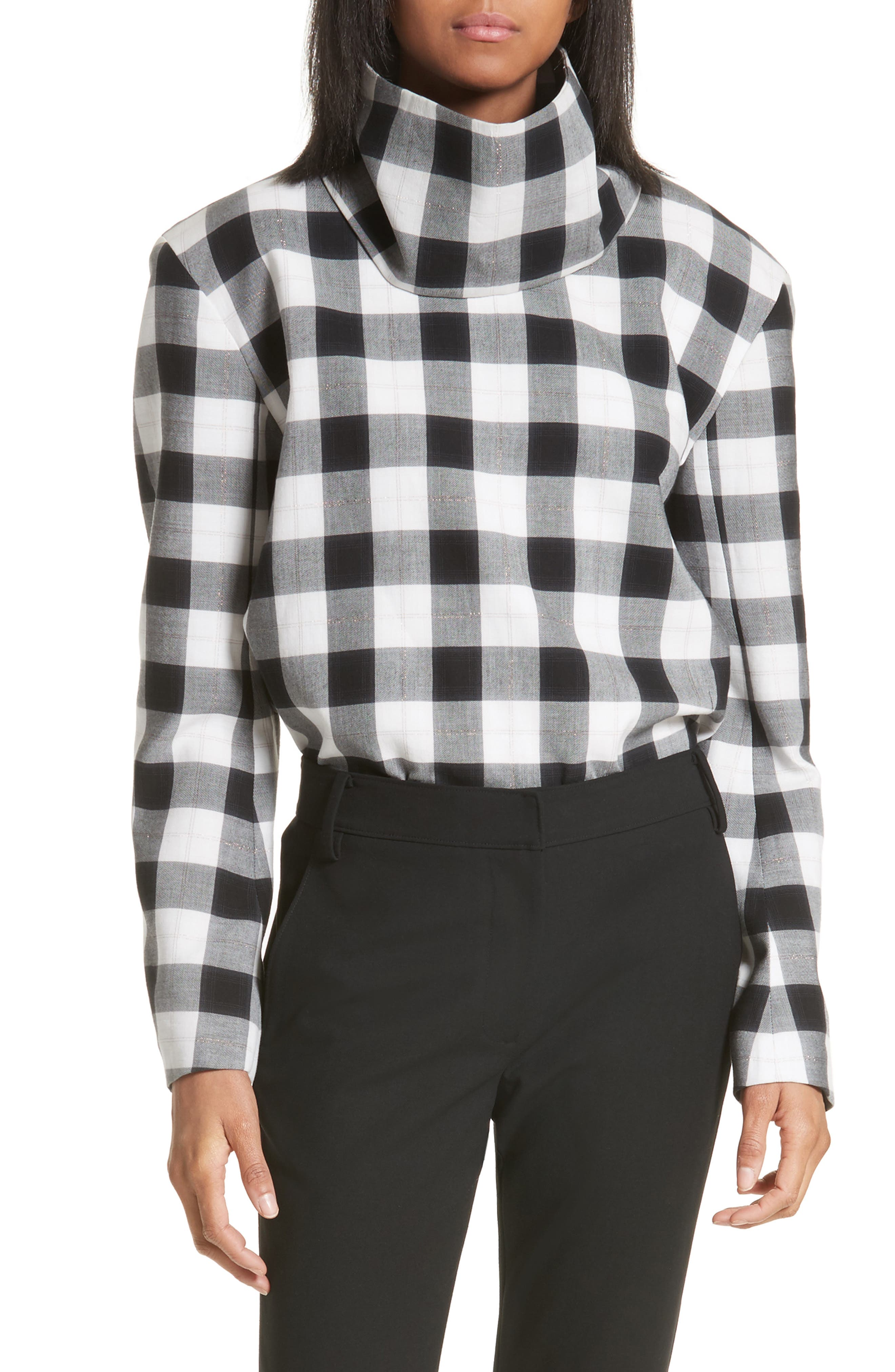 Tess Plaid Top with Detachable Collar,                             Main thumbnail 1, color,                             001