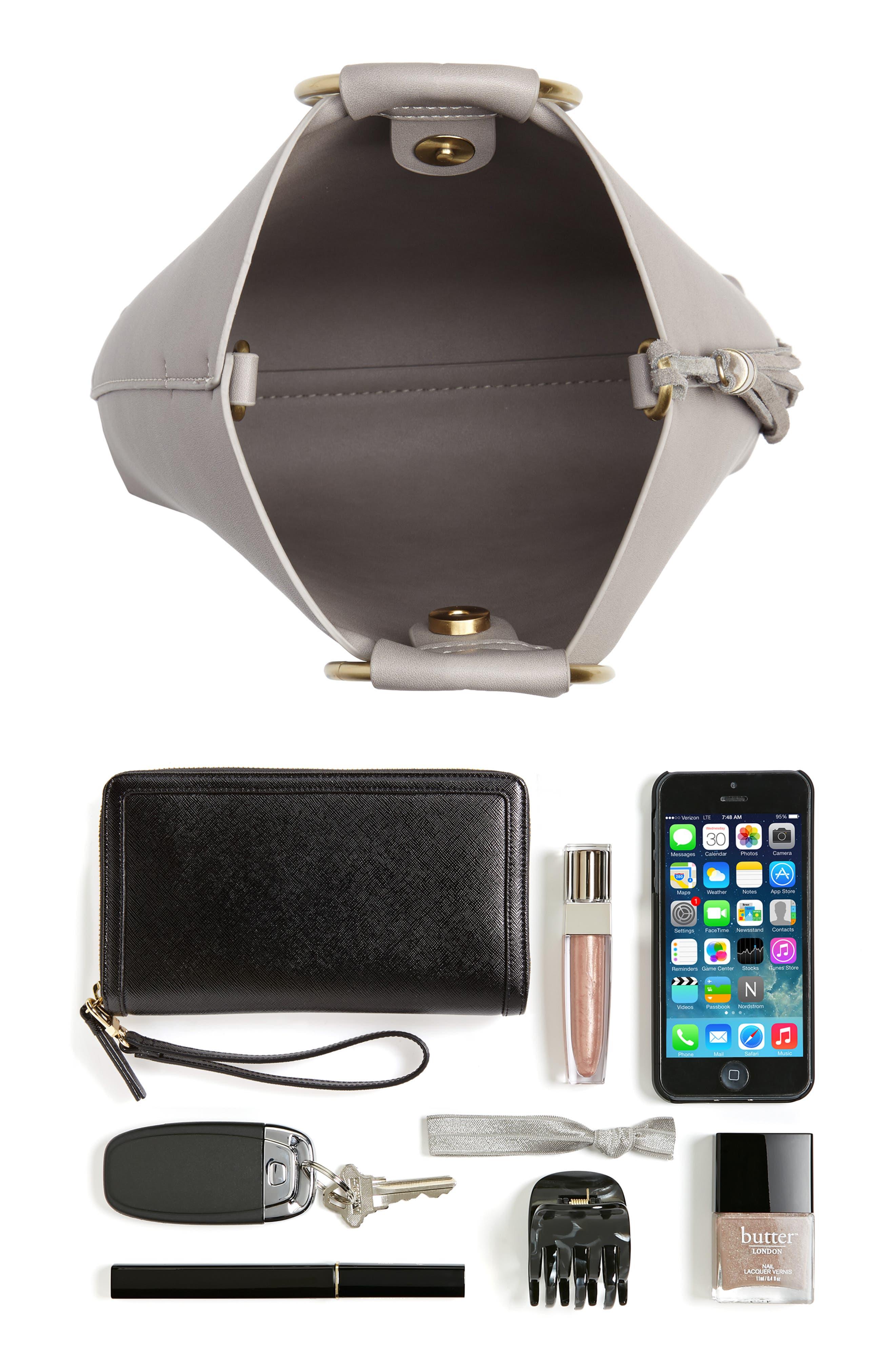 Metal Handle Faux Leather Crossbody Bag,                             Alternate thumbnail 7, color,                             020
