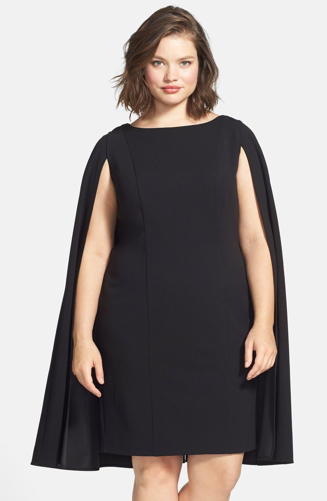 Cape Sheath Dress,                             Main thumbnail 1, color,                             001