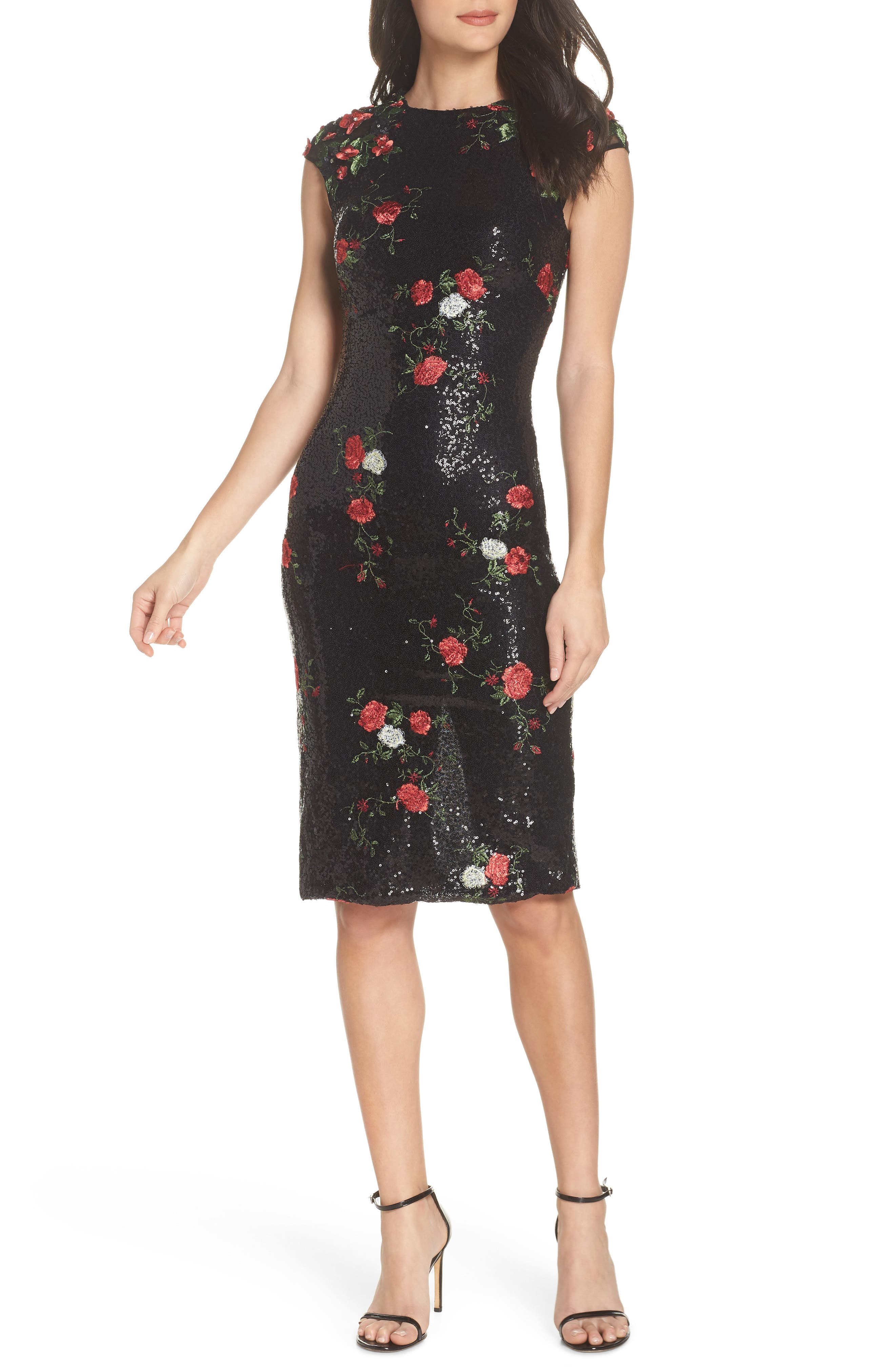 Sequin & Embroidery Sheath Dress,                             Main thumbnail 1, color,                             BLACK ROSE