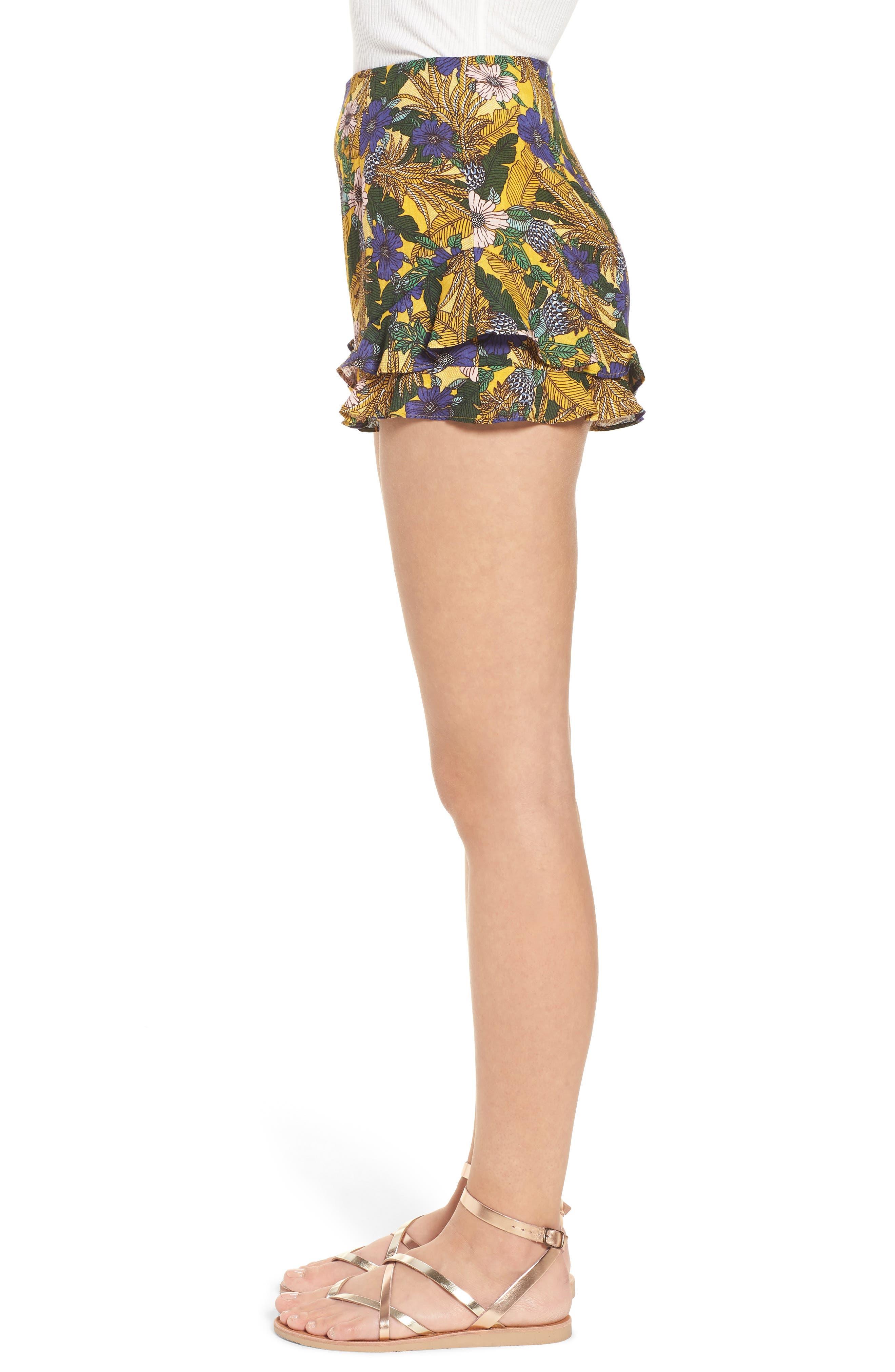 Isla Print Ruffle Shorts,                             Alternate thumbnail 3, color,
