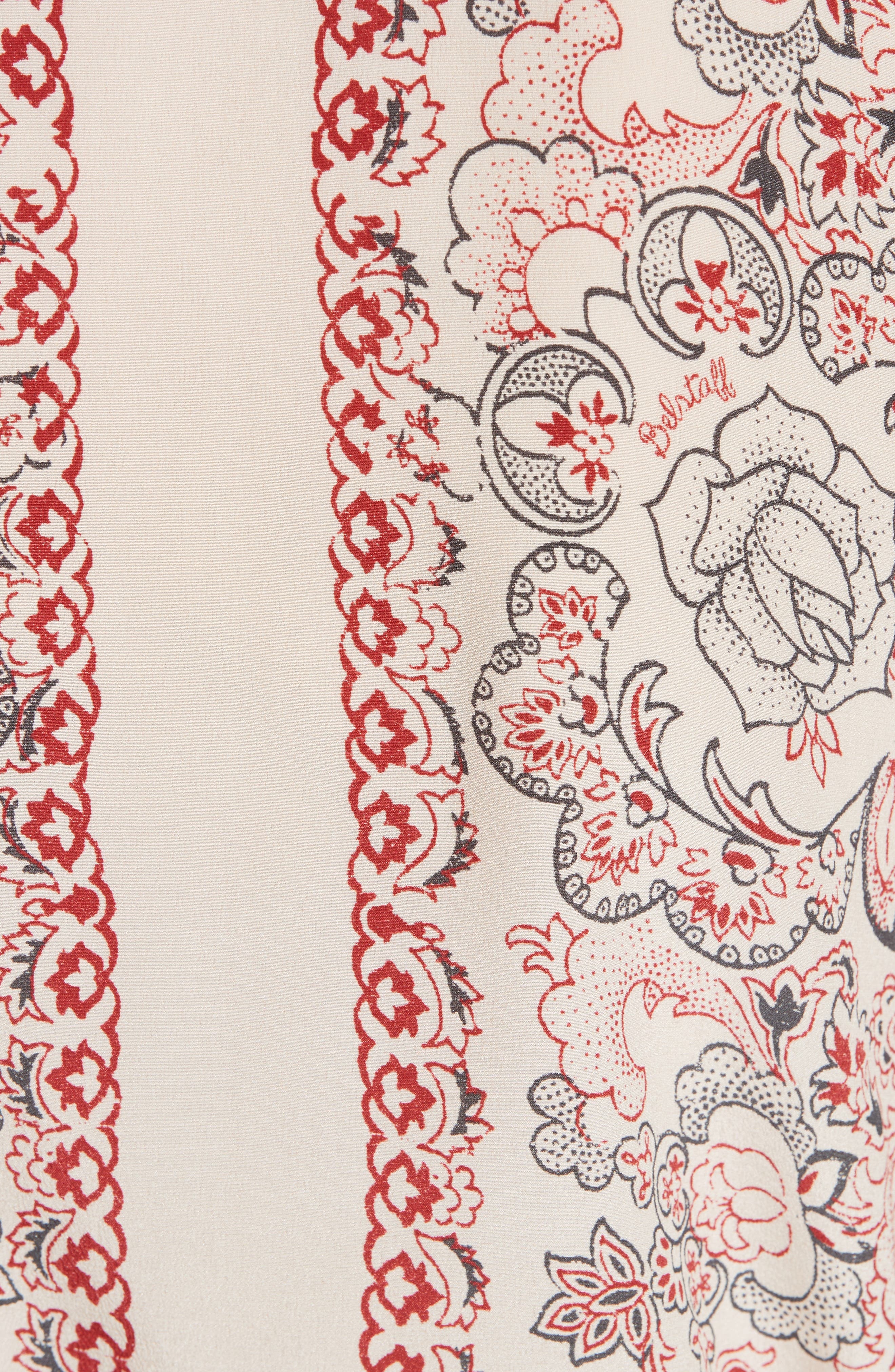 Alene Print Tie Neck Silk Blouse,                             Alternate thumbnail 5, color,                             297