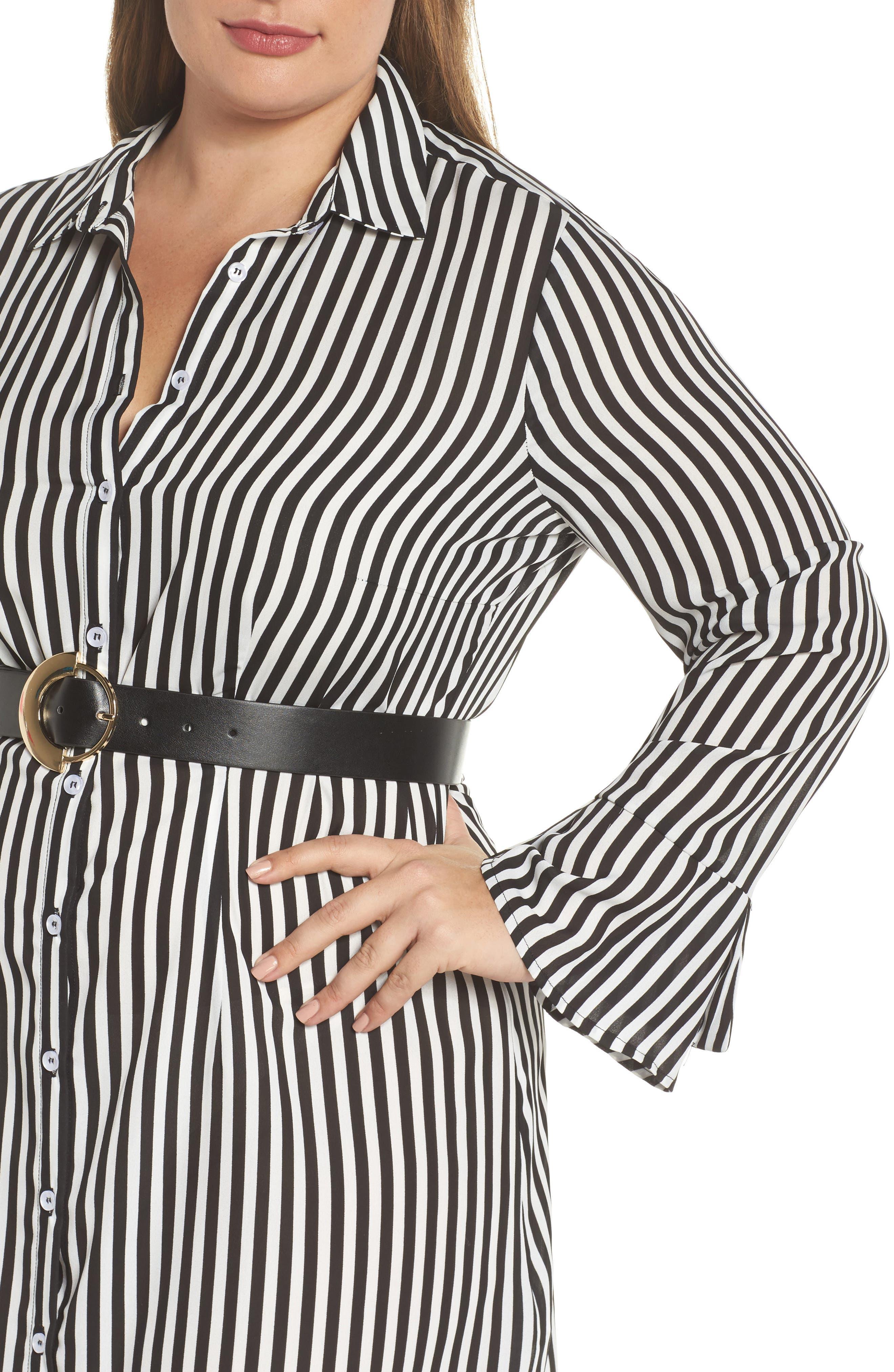 Belted Stripe Shirtdress,                             Alternate thumbnail 4, color,                             161