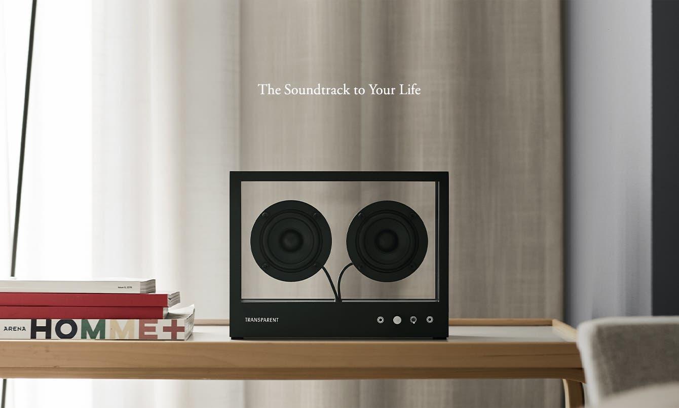 Transparent Sound's Transparent Speaker on bookshelf.