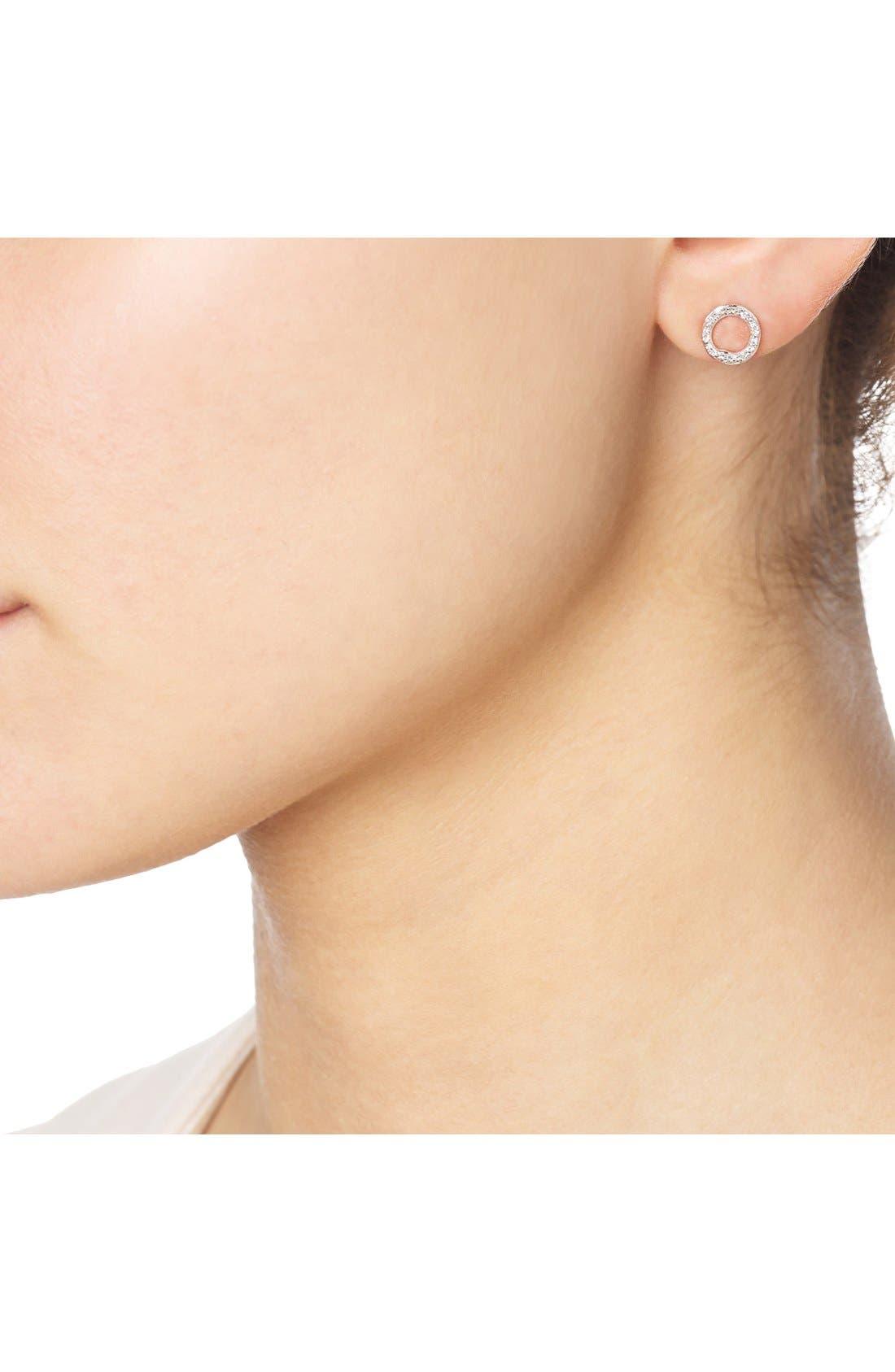 'Riva' Circle Stud Diamond Earrings,                             Alternate thumbnail 2, color,                             ROSE GOLD