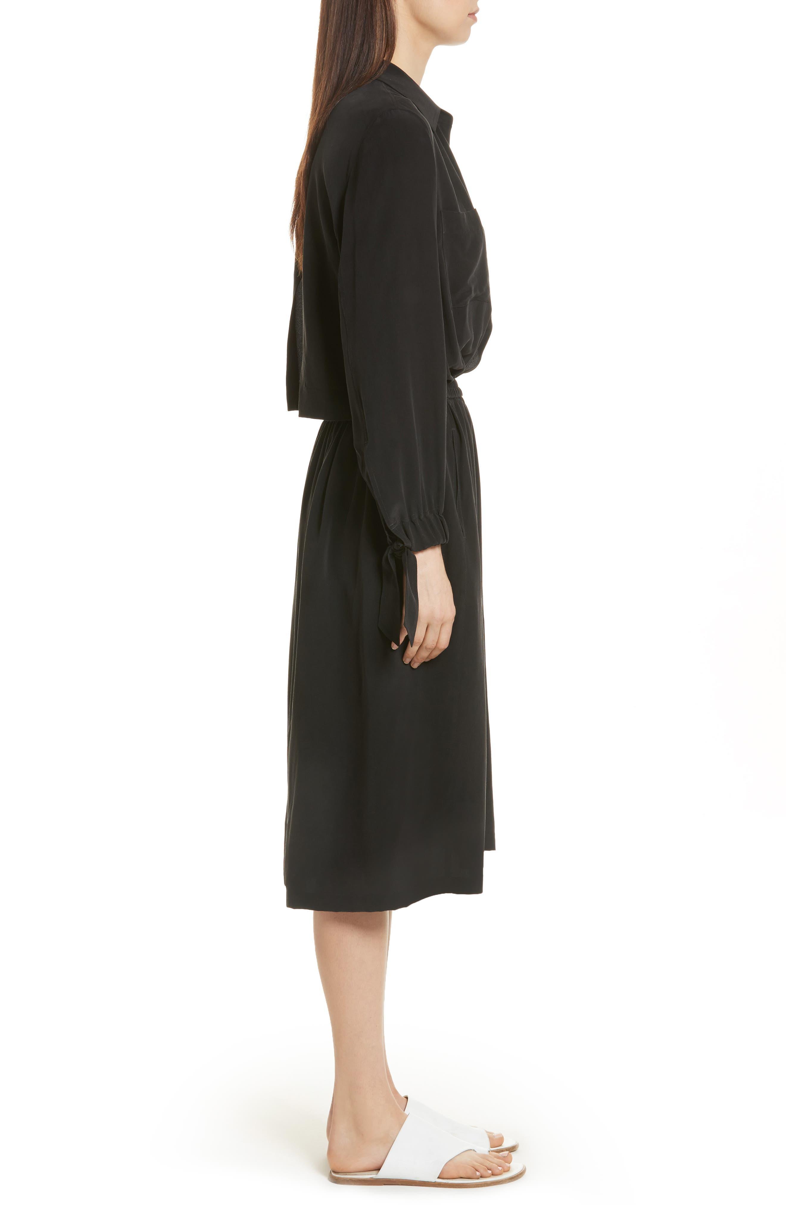 Silk Slit Back Shirtdress,                             Alternate thumbnail 3, color,                             001