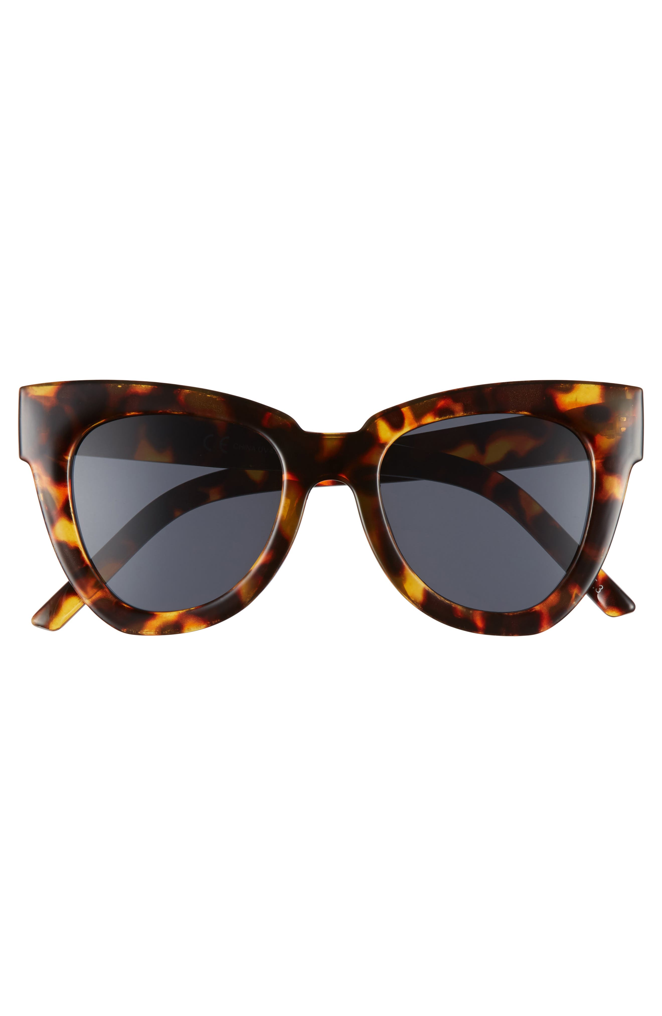 SHADY LADY,                             Hayley 50mm Cat Eye Sunglasses,                             Alternate thumbnail 3, color,                             TORTOISE