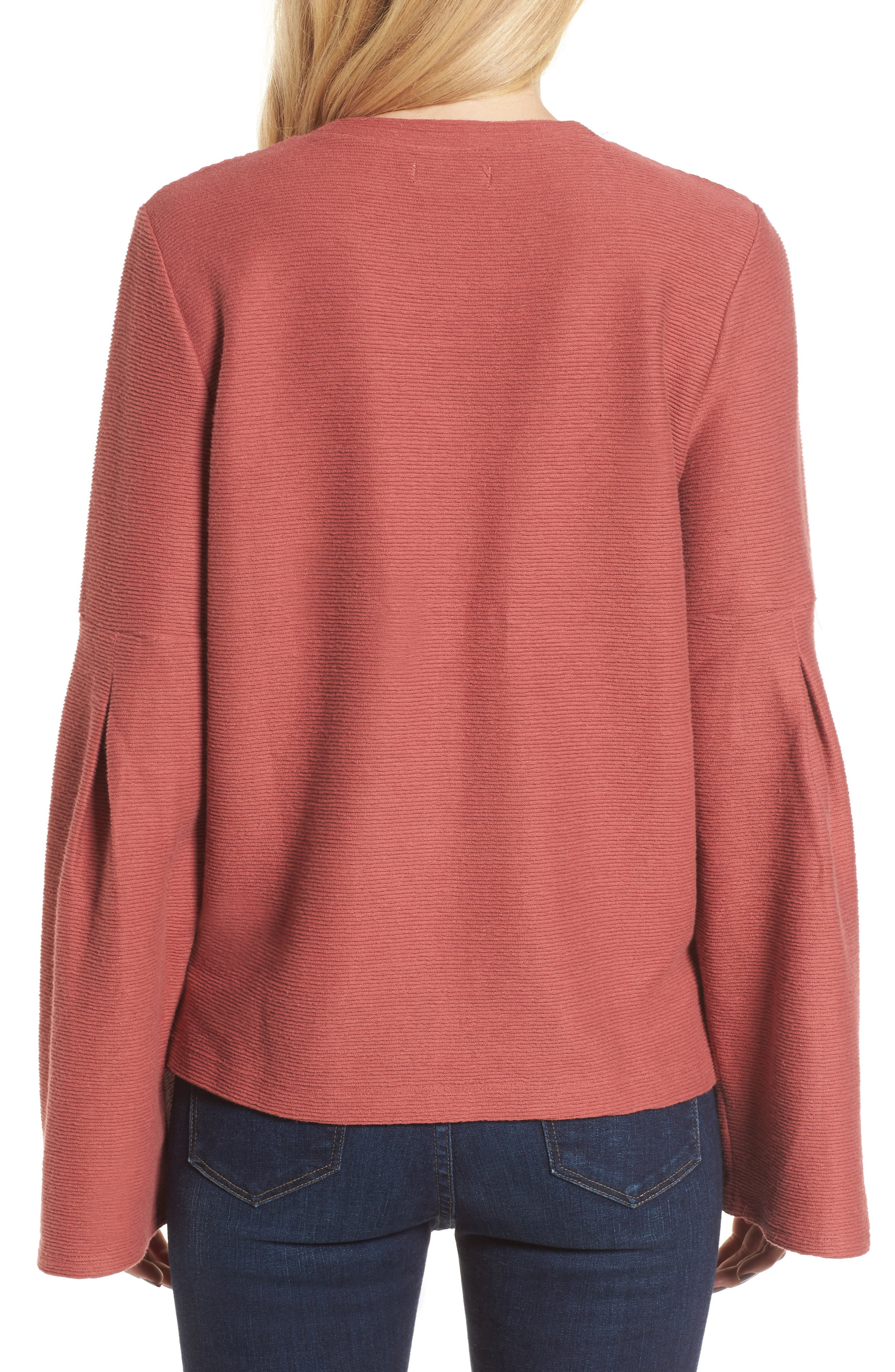 Flare Sleeve Ribbed Top,                             Alternate thumbnail 2, color,                             660