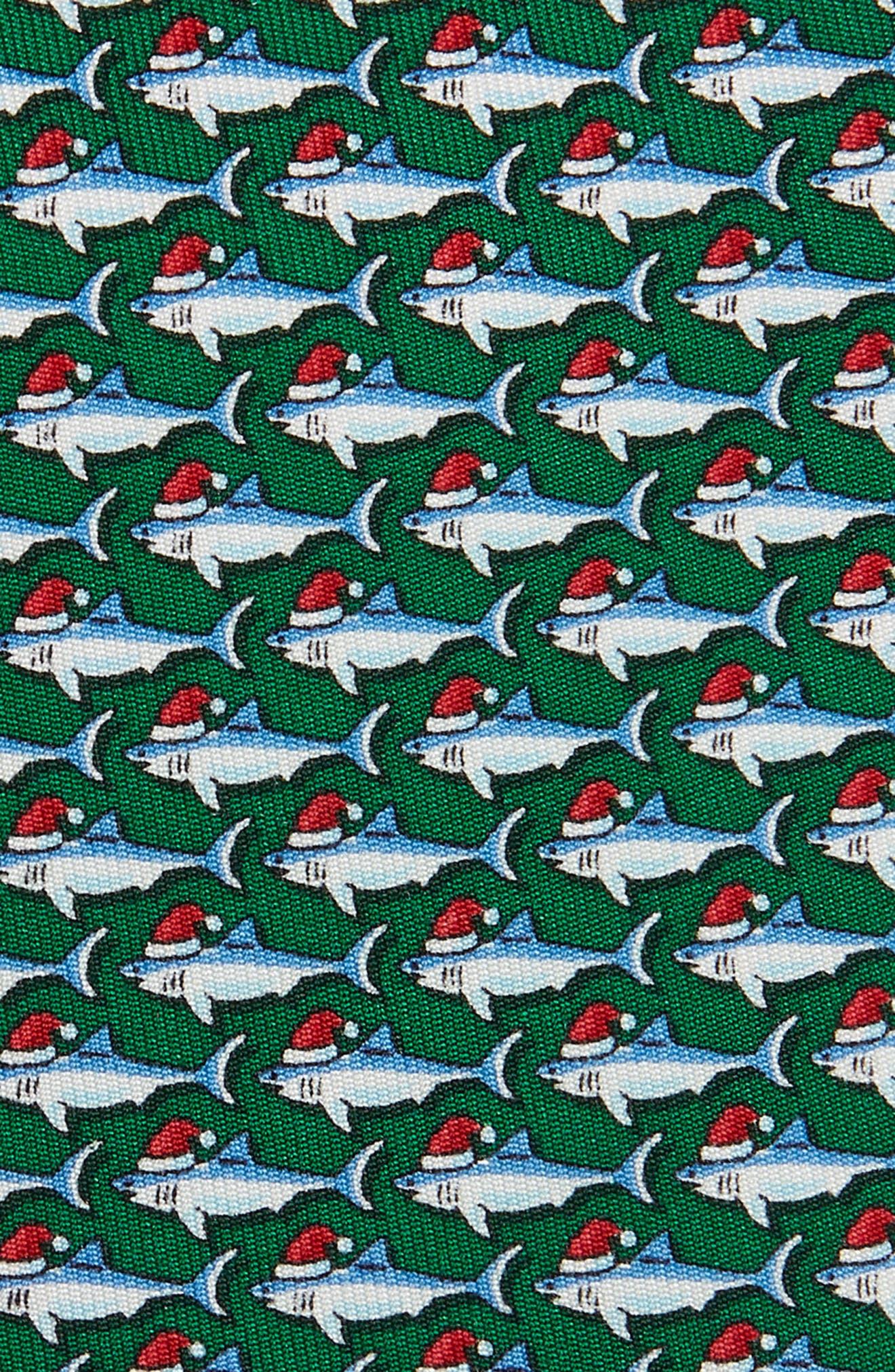 Santa Jaws Silk Tie,                             Alternate thumbnail 2, color,                             TURF GREEN