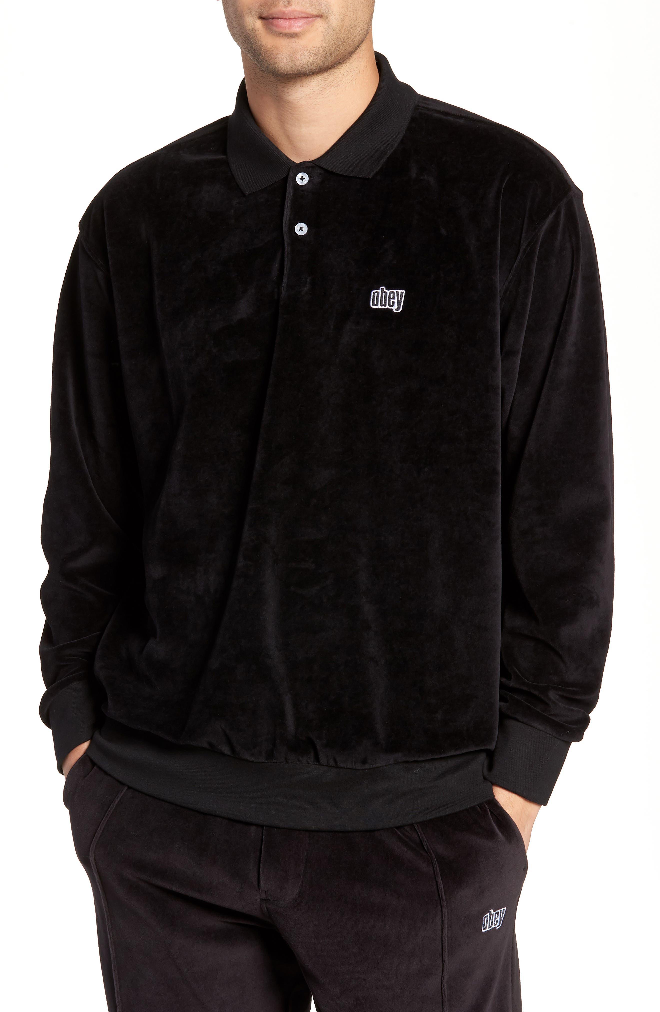 Saucer Long Sleeve Velour Polo,                             Main thumbnail 1, color,                             BLACK