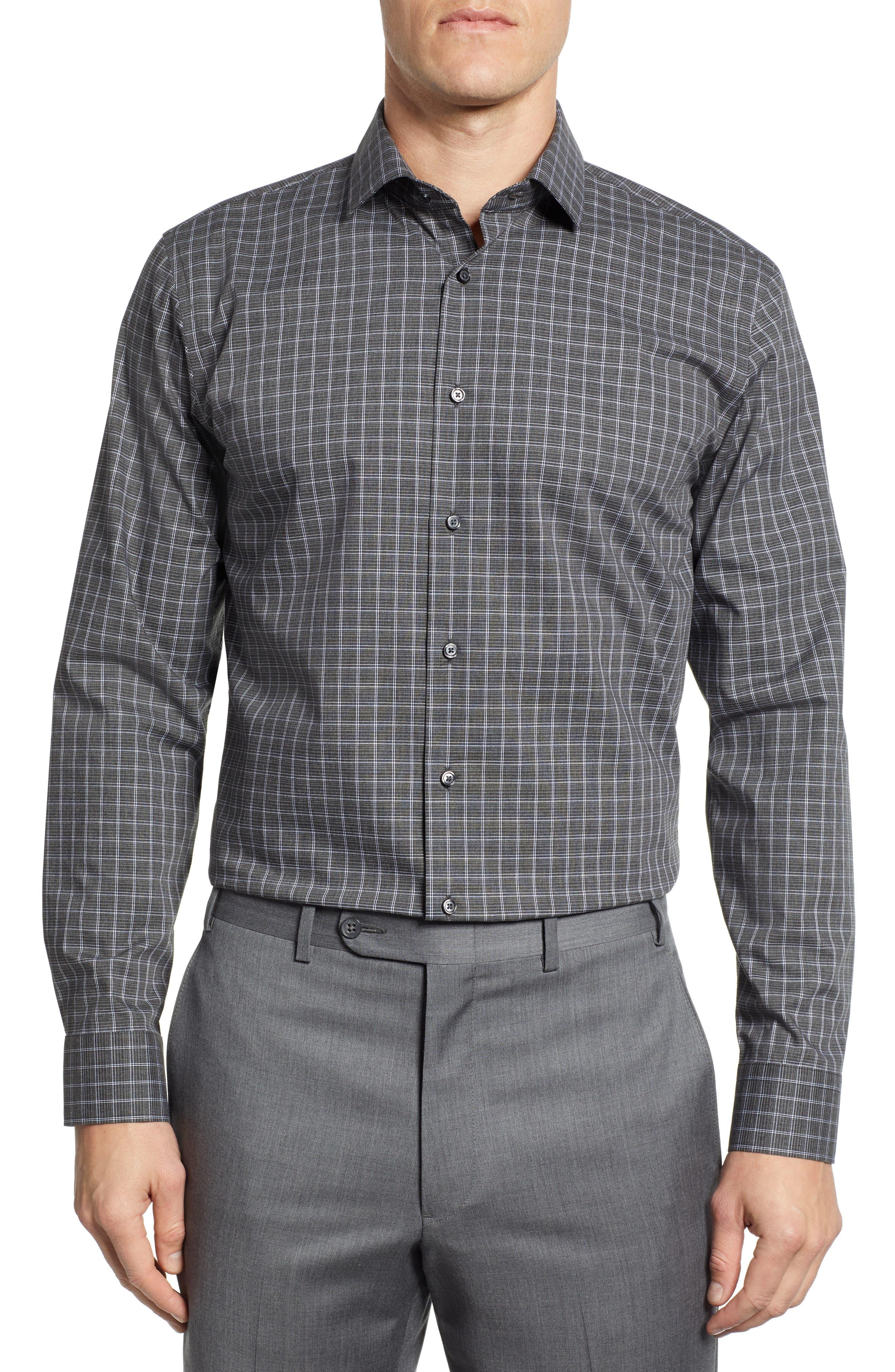 Trim Fit Non-Iron Check Dress Shirt, Main, color, GREY ONYX