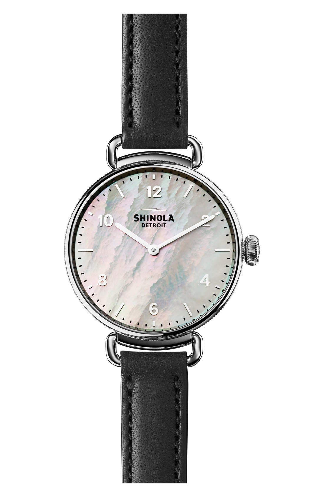 Canfield Leather Strap Watch, 32mm,                         Main,                         color, BLACK/ WHITE MOTHER OF PEARL