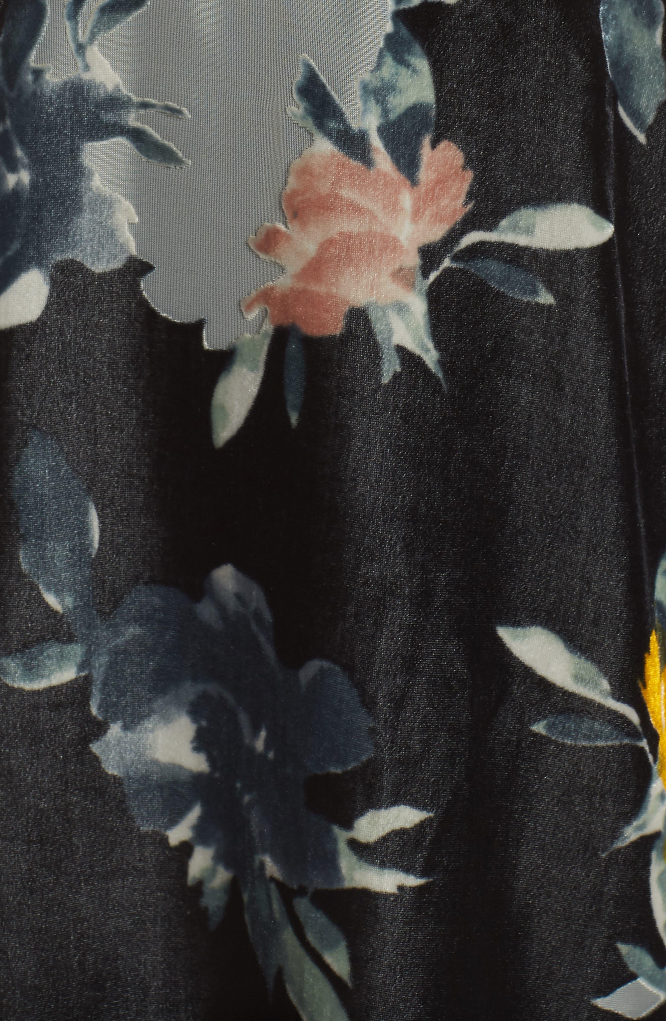 Wilma Devore Burnout Velvet Minidress,                             Alternate thumbnail 6, color,                             DARK SLATE MULTI