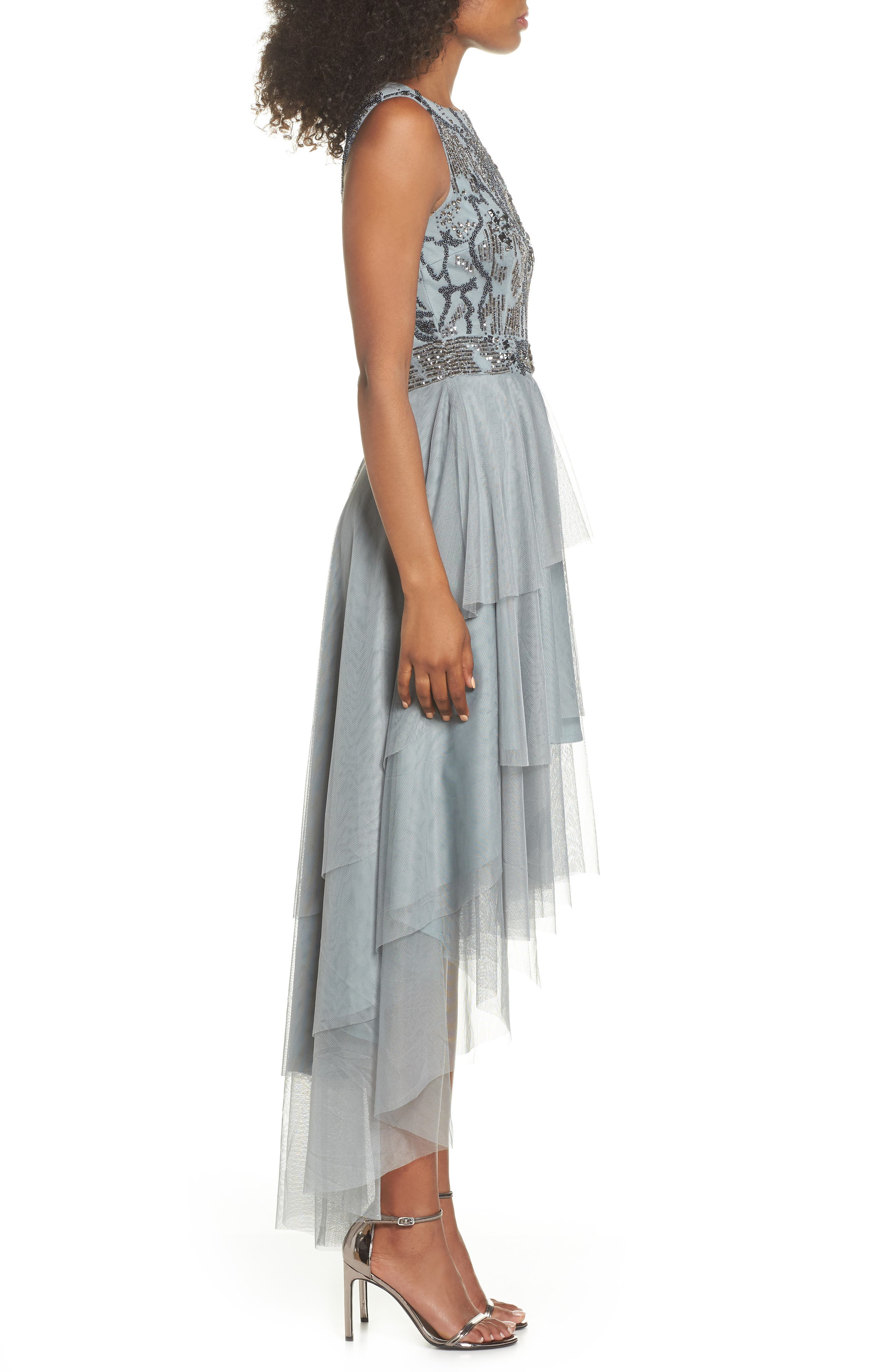 Bridget Embellished Tiered Tulle Dress,                             Alternate thumbnail 3, color,                             GREY