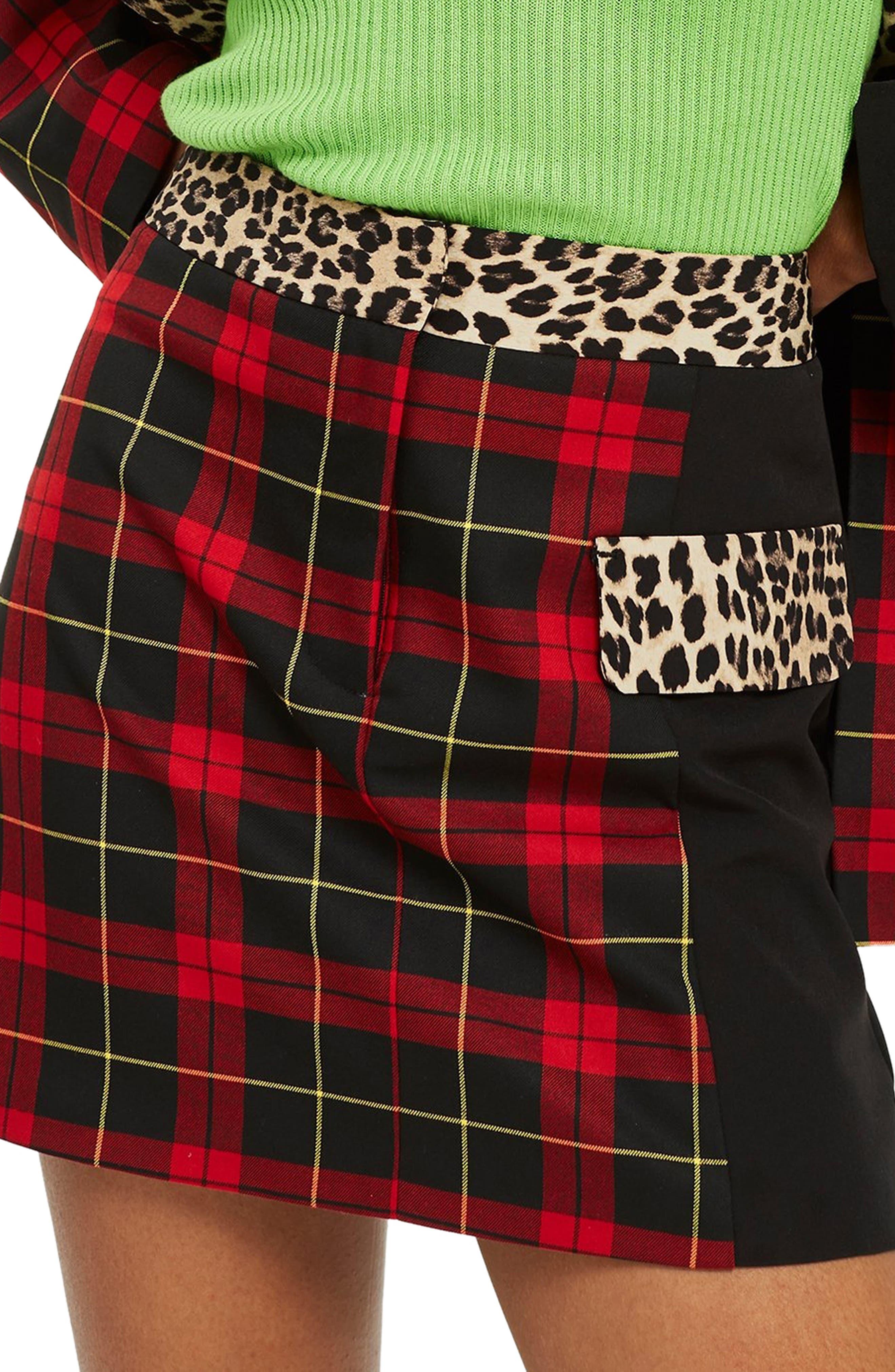 Topshop Leopard Trim Tartan Skirt