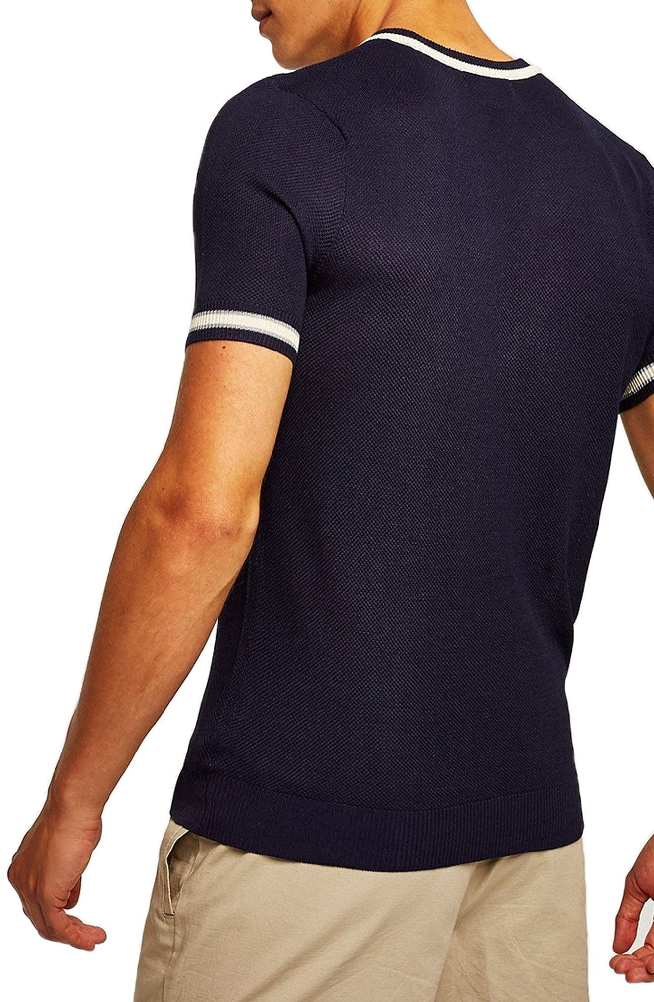 Tipping Classic Fit Short Sleeve Sweater,                             Alternate thumbnail 2, color,                             NAVY BLUE
