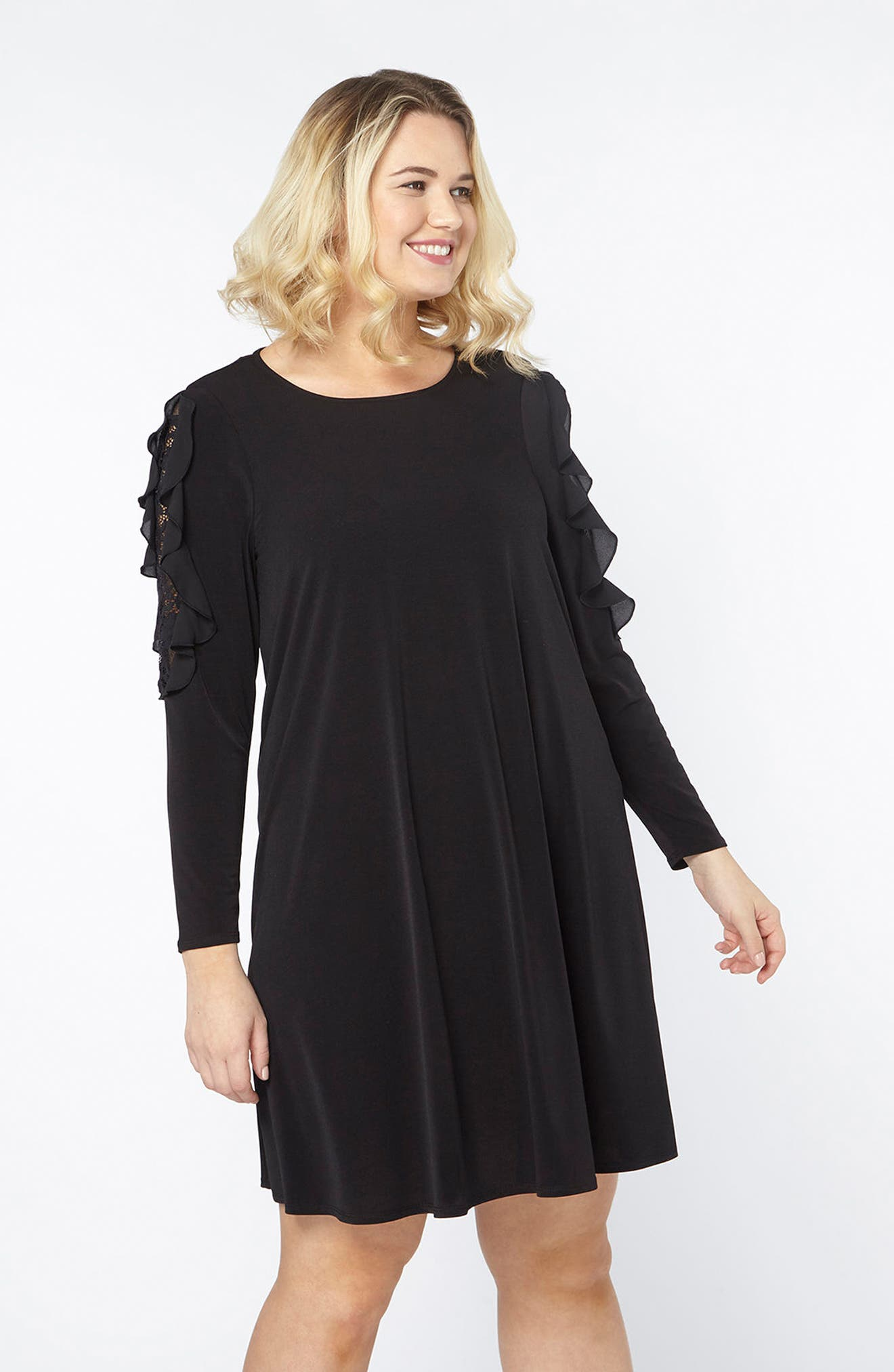 Lace Inset Shift Dress,                             Alternate thumbnail 5, color,                             001