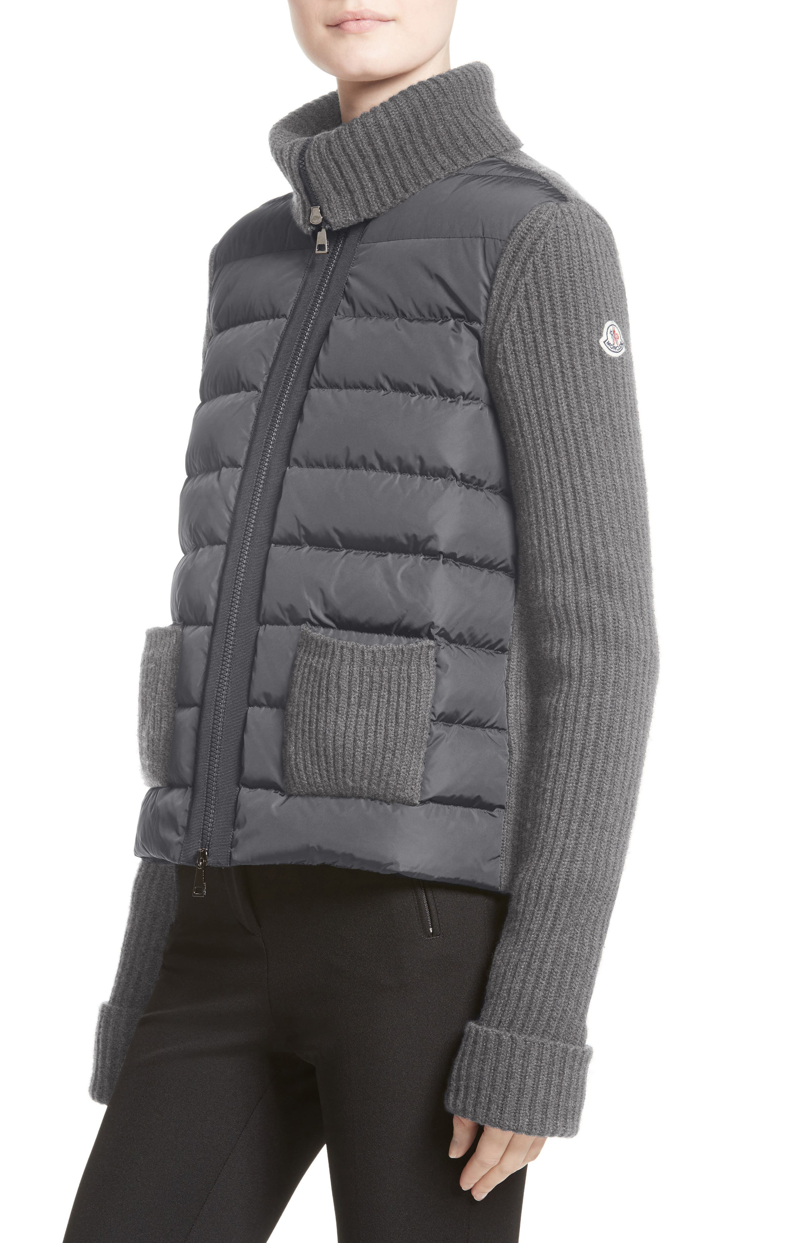 Ciclista Quilted Down Front Sweater Jacket,                             Alternate thumbnail 5, color,                             GREY