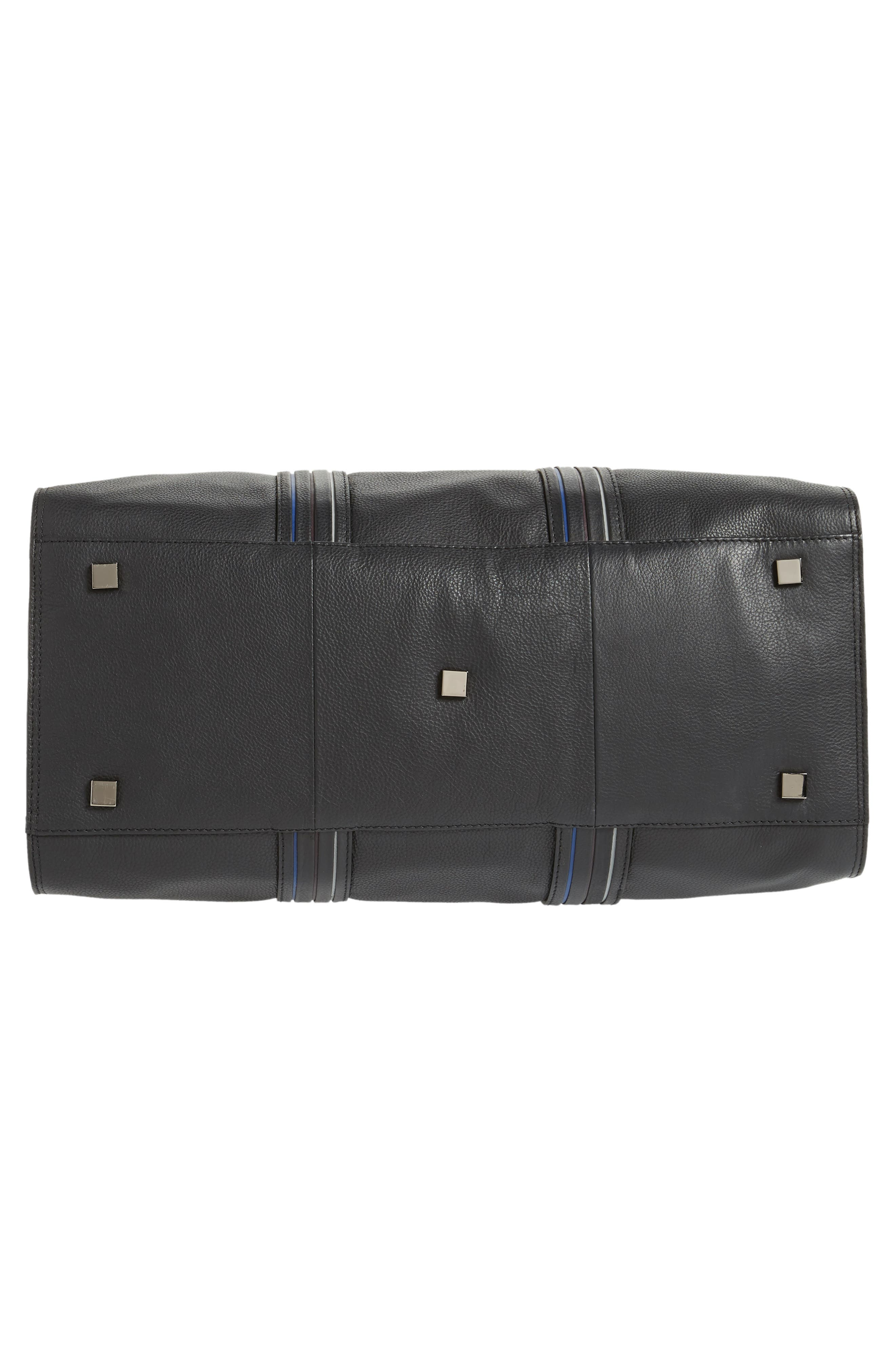 TED BAKER LONDON,                             Geeves Stripe Leather Duffel Bag,                             Alternate thumbnail 6, color,                             001