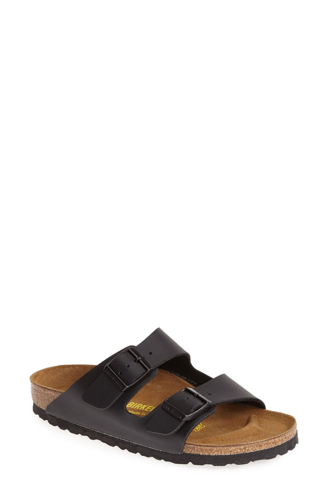 Arizona Birko-Flor Sandal,                         Main,                         color, BLACK LEATHER