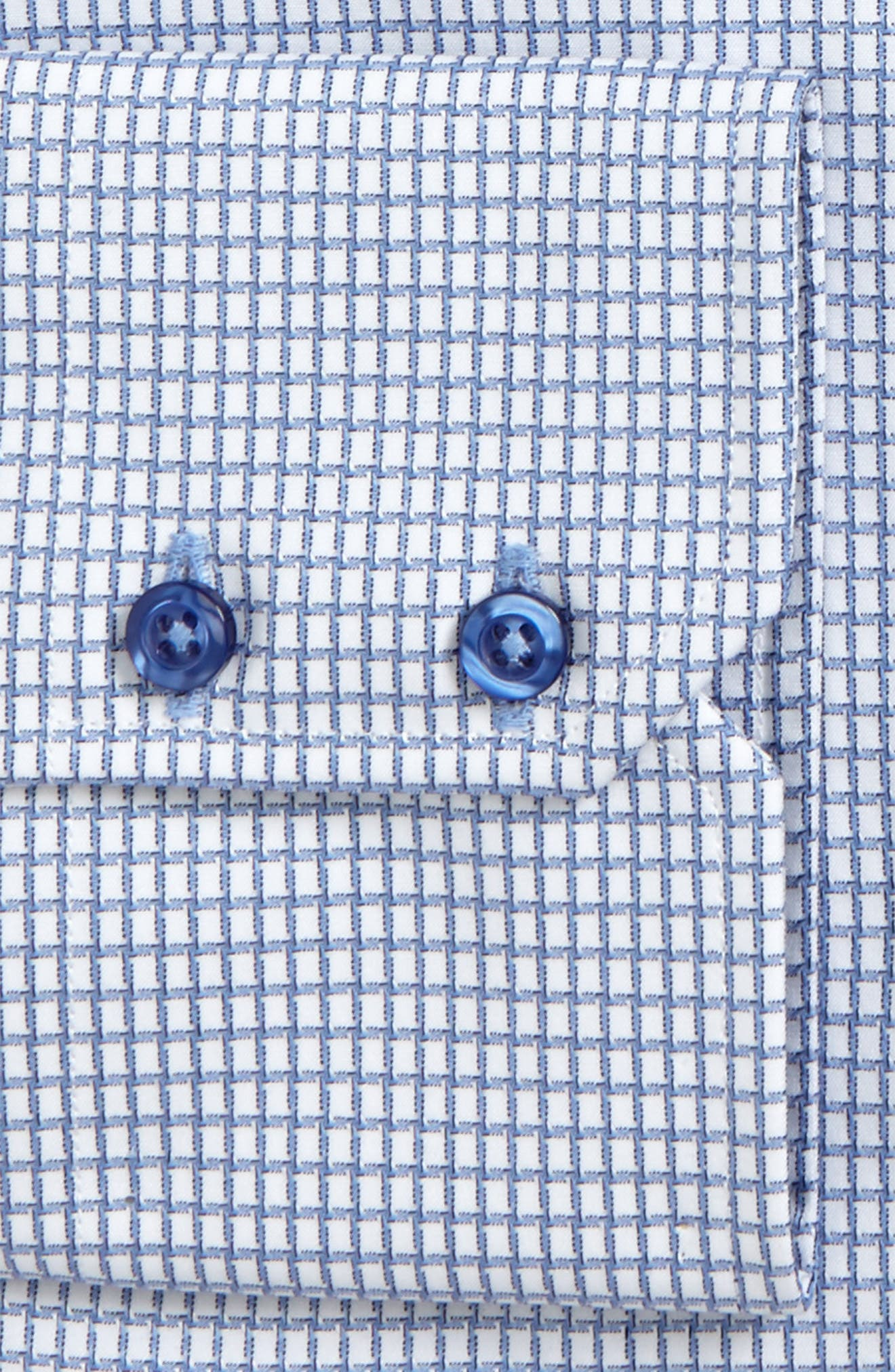 Trim Fit Check Dress Shirt,                             Alternate thumbnail 5, color,