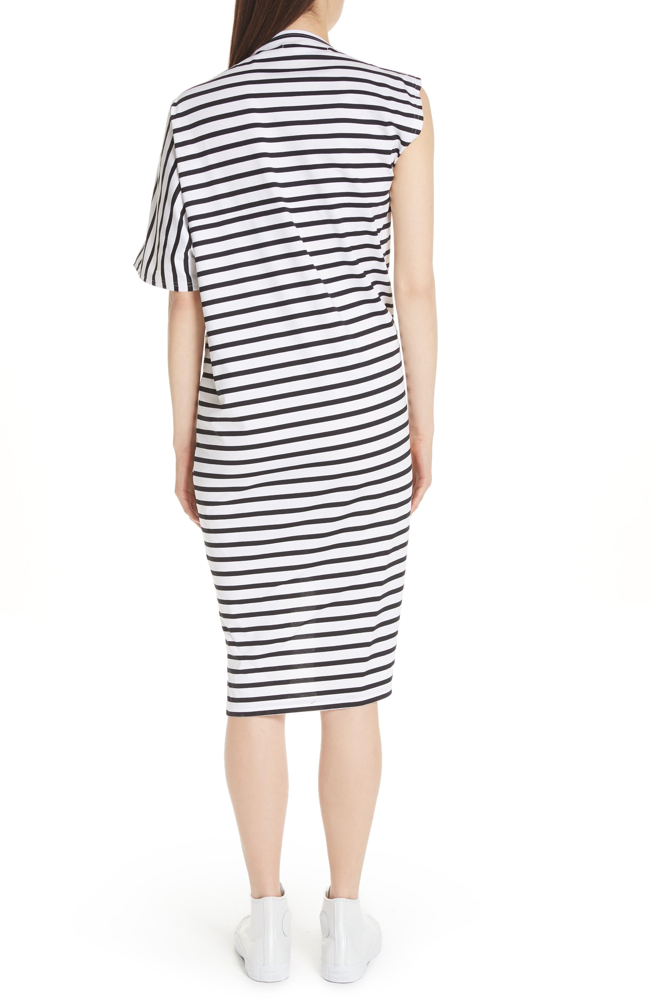 Asymmetrical Stripe Dress,                             Alternate thumbnail 2, color,                             100