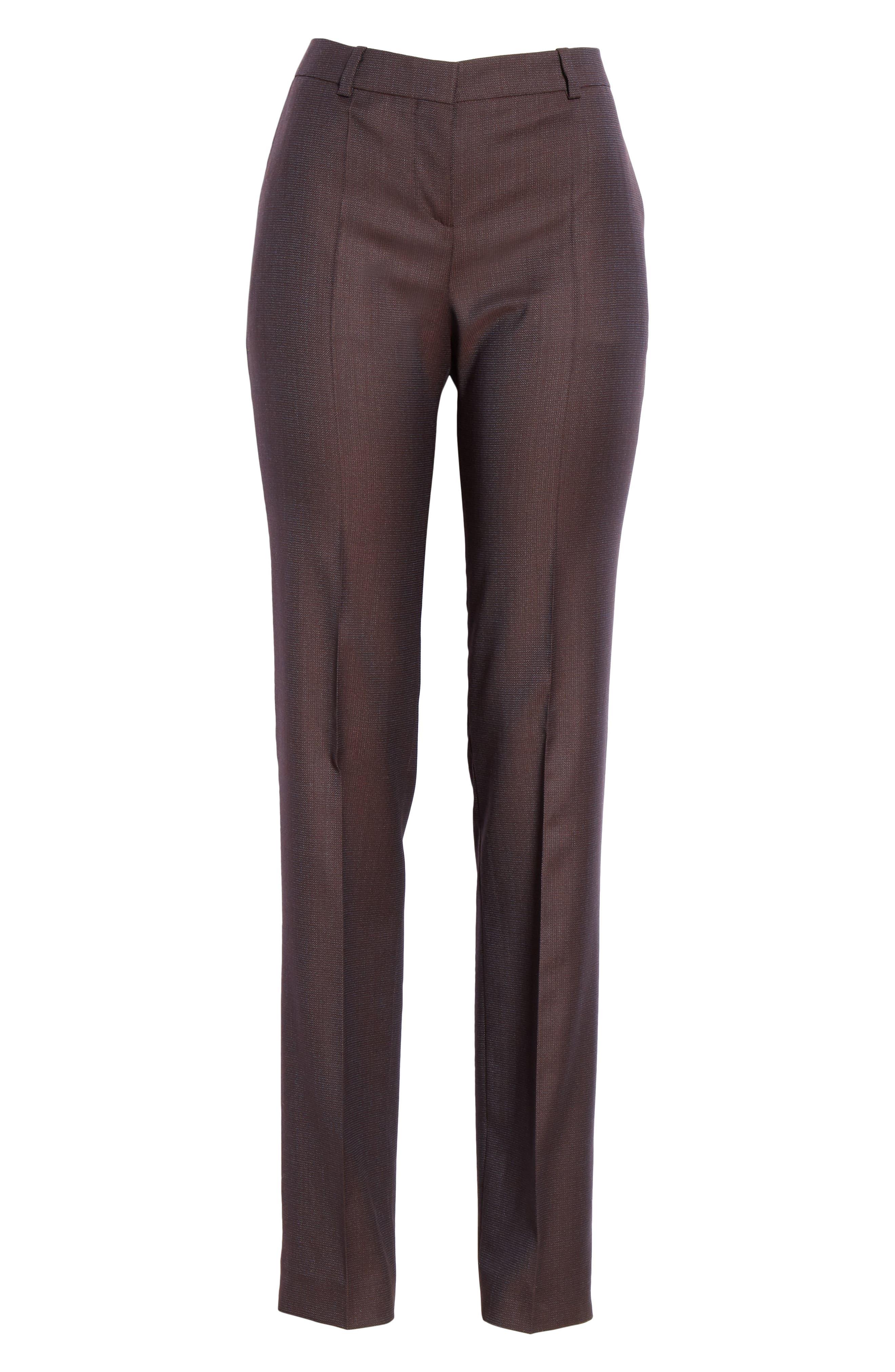 Tamea Slim Wool Suit Pants,                             Alternate thumbnail 7, color,                             DARK BERRY FANTASY