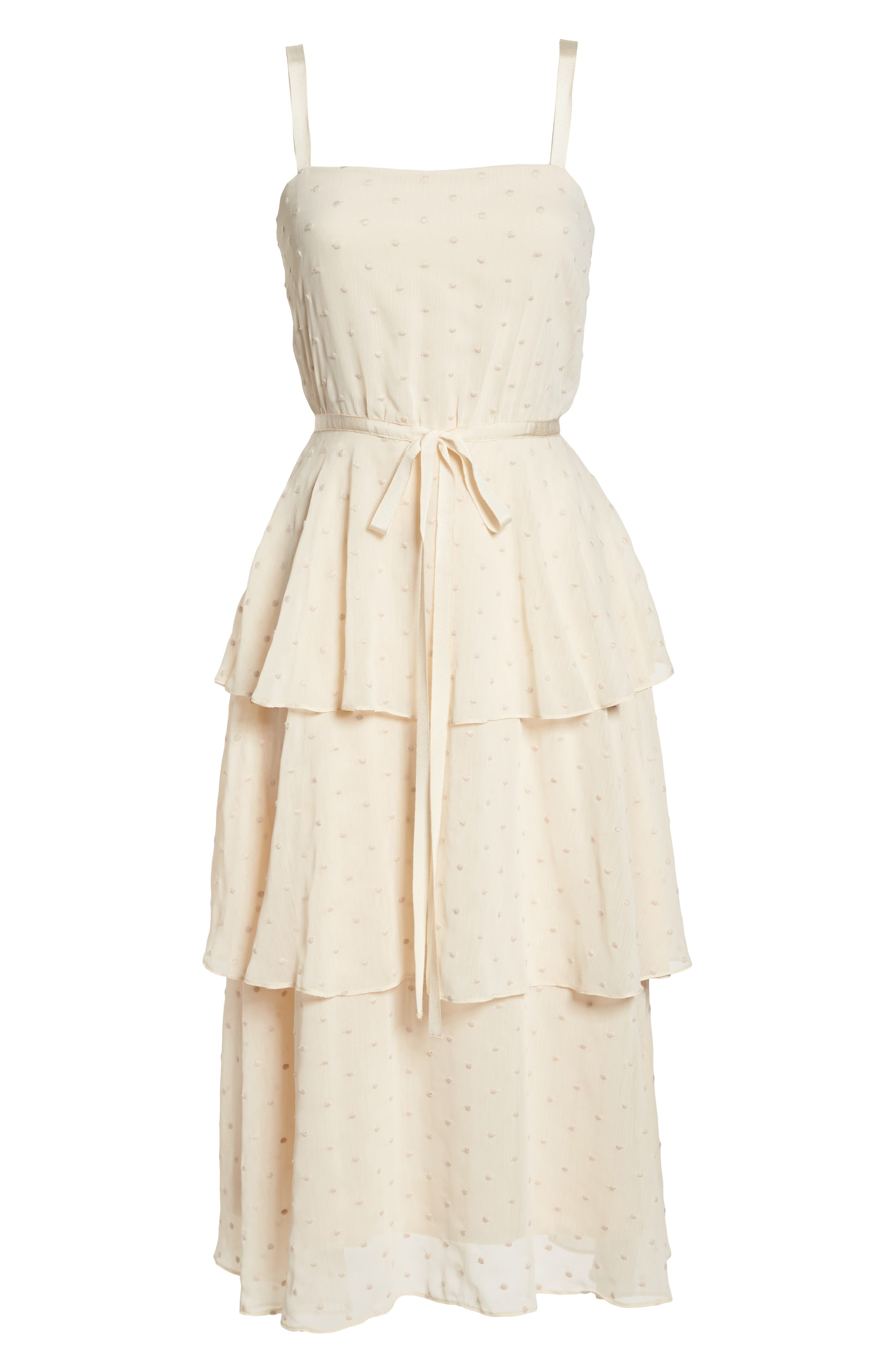 Florence Chiffon Embroidered Tiered A-Line Dress,                             Alternate thumbnail 7, color,                             255