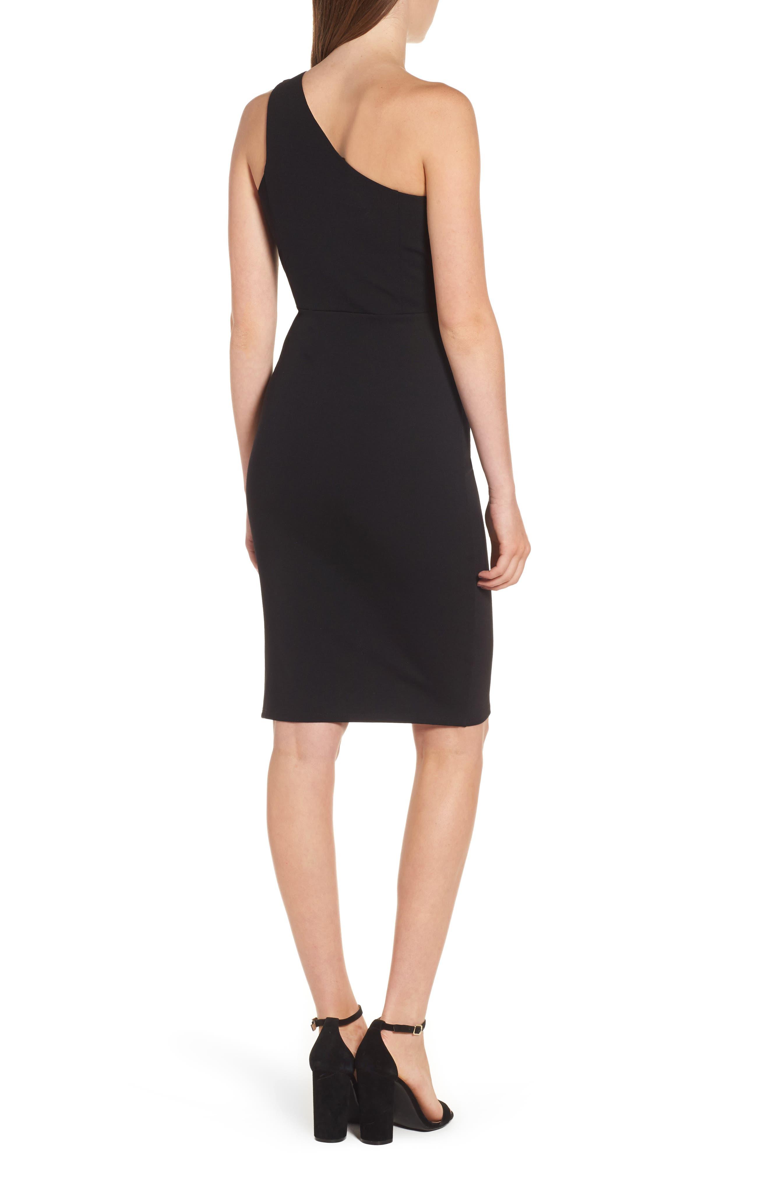 One-Shoulder Body-Con Dress,                             Alternate thumbnail 4, color,