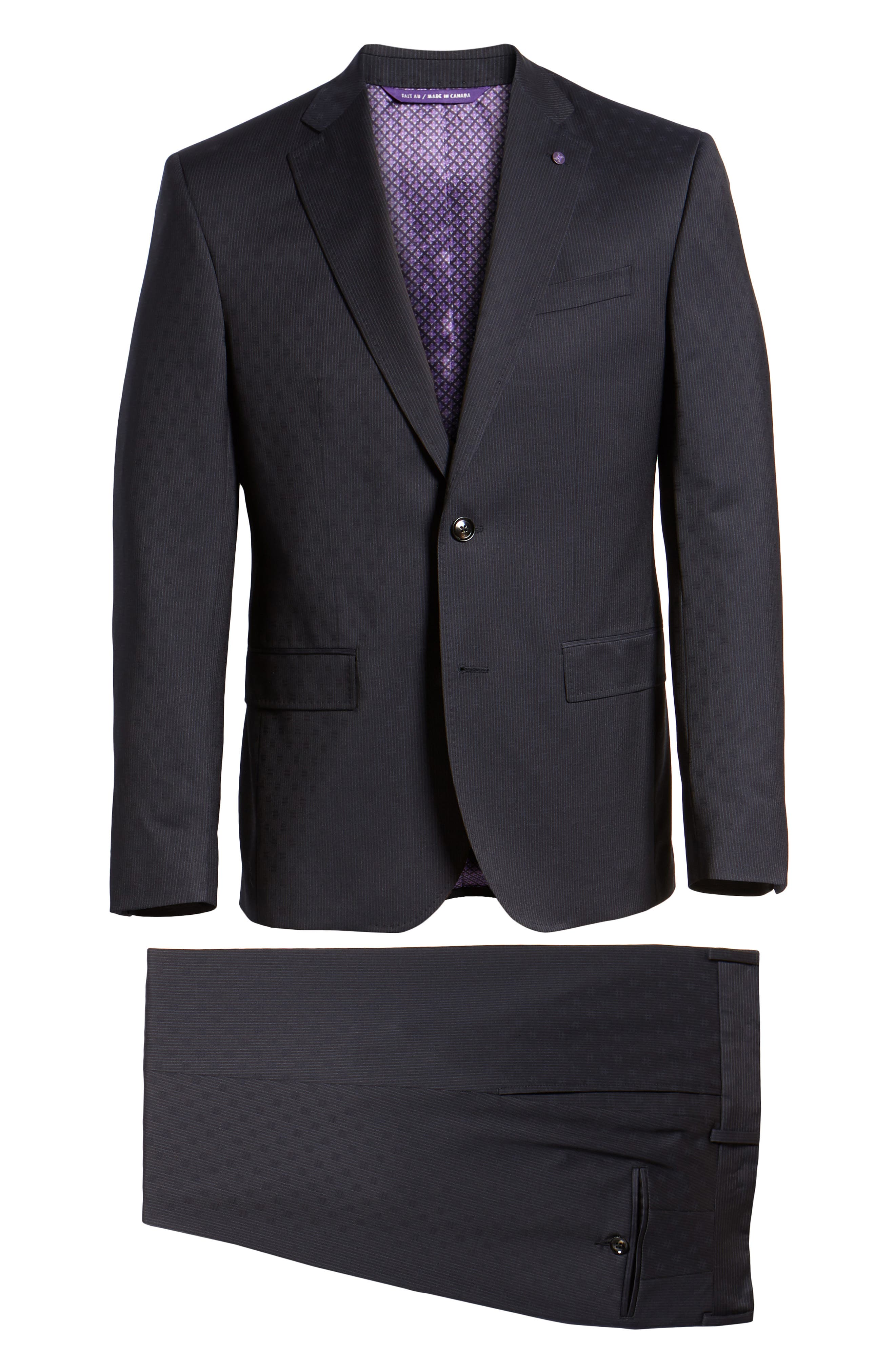 Roger Extra Trim Fit Stripe Wool Suit,                             Alternate thumbnail 7, color,                             NAVY STRIPE