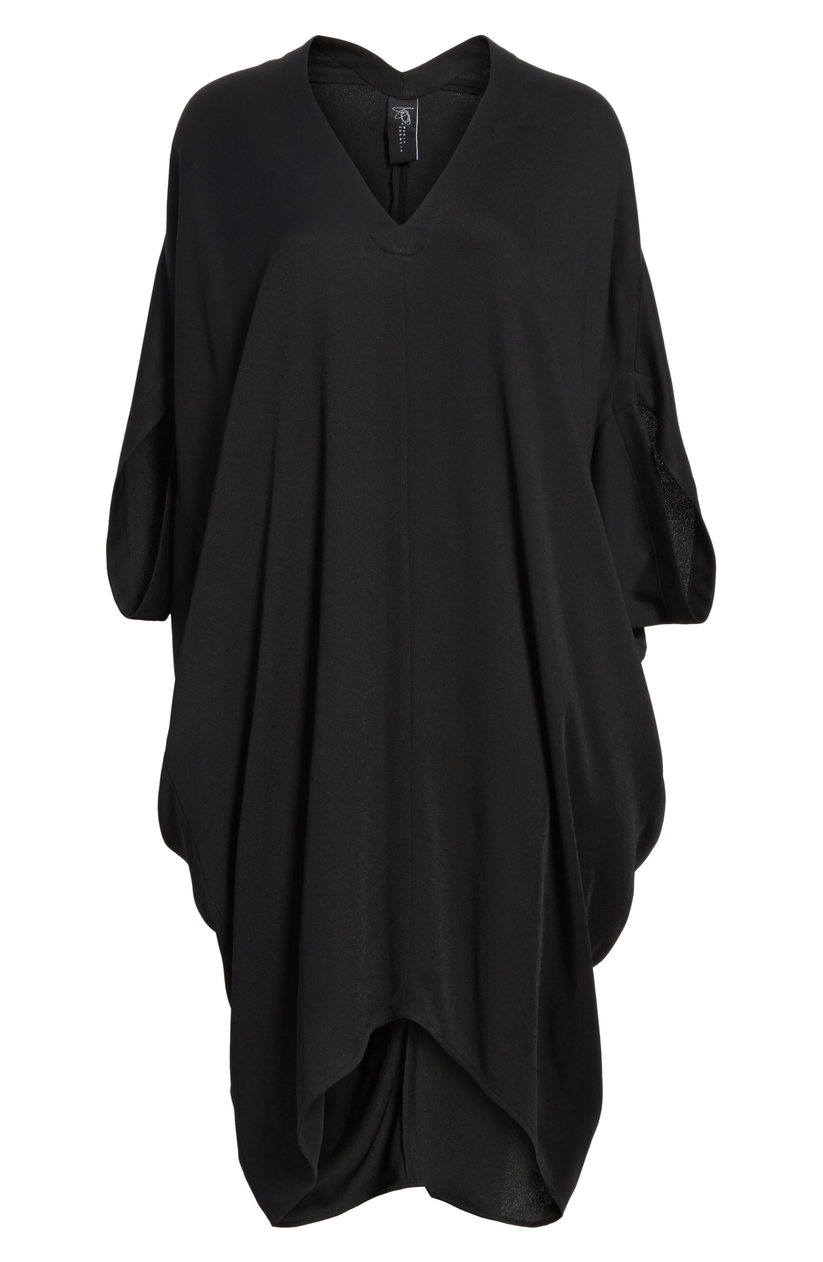 Eco Drape Dress,                             Alternate thumbnail 6, color,                             001