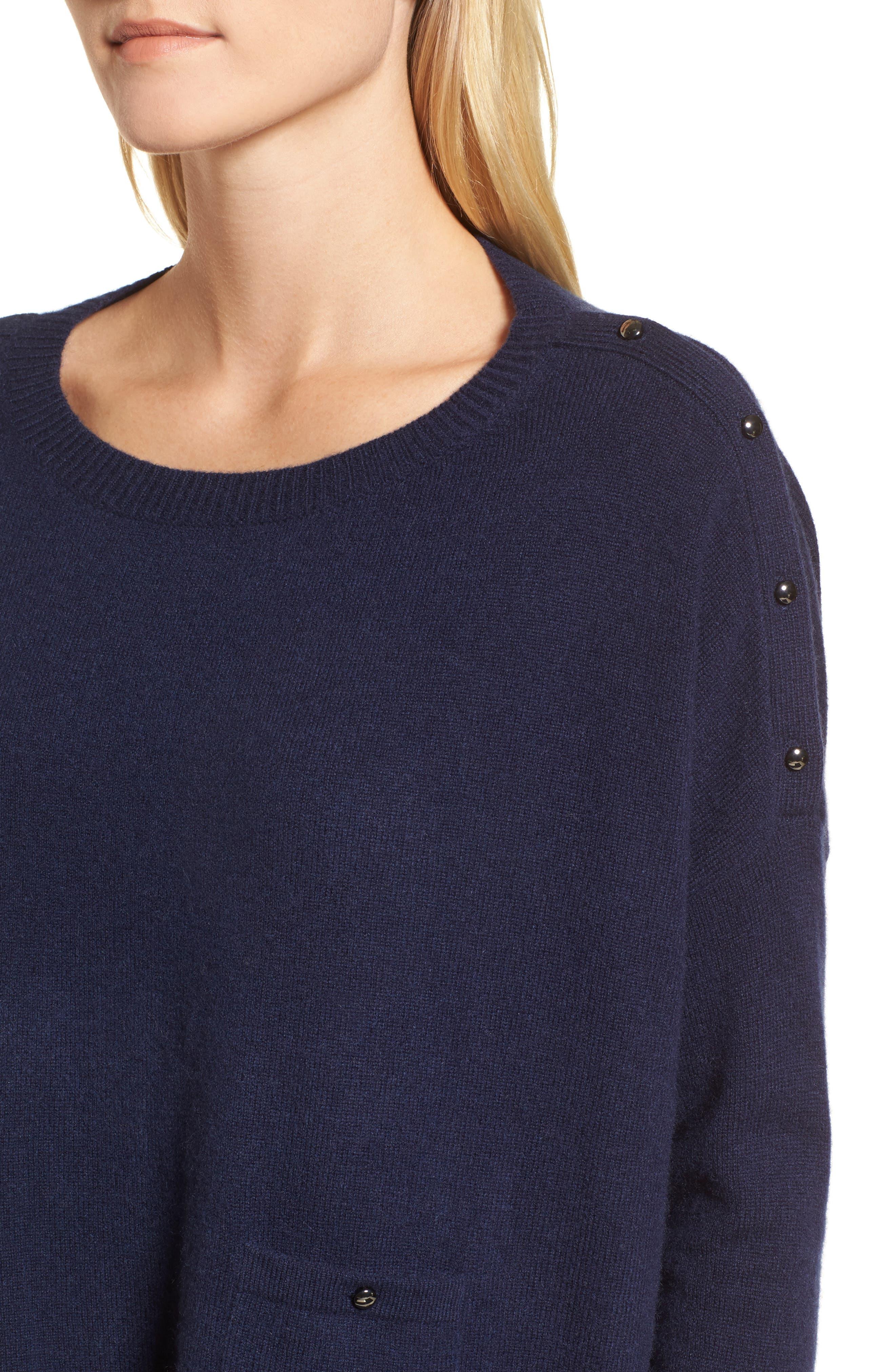 Button Detail Cashmere Sweater,                             Alternate thumbnail 8, color,