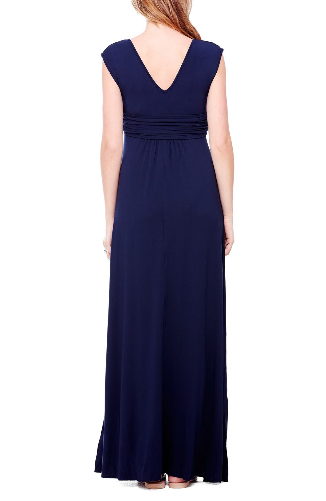 Empire Waist Maternity Maxi Dress,                             Alternate thumbnail 6, color,